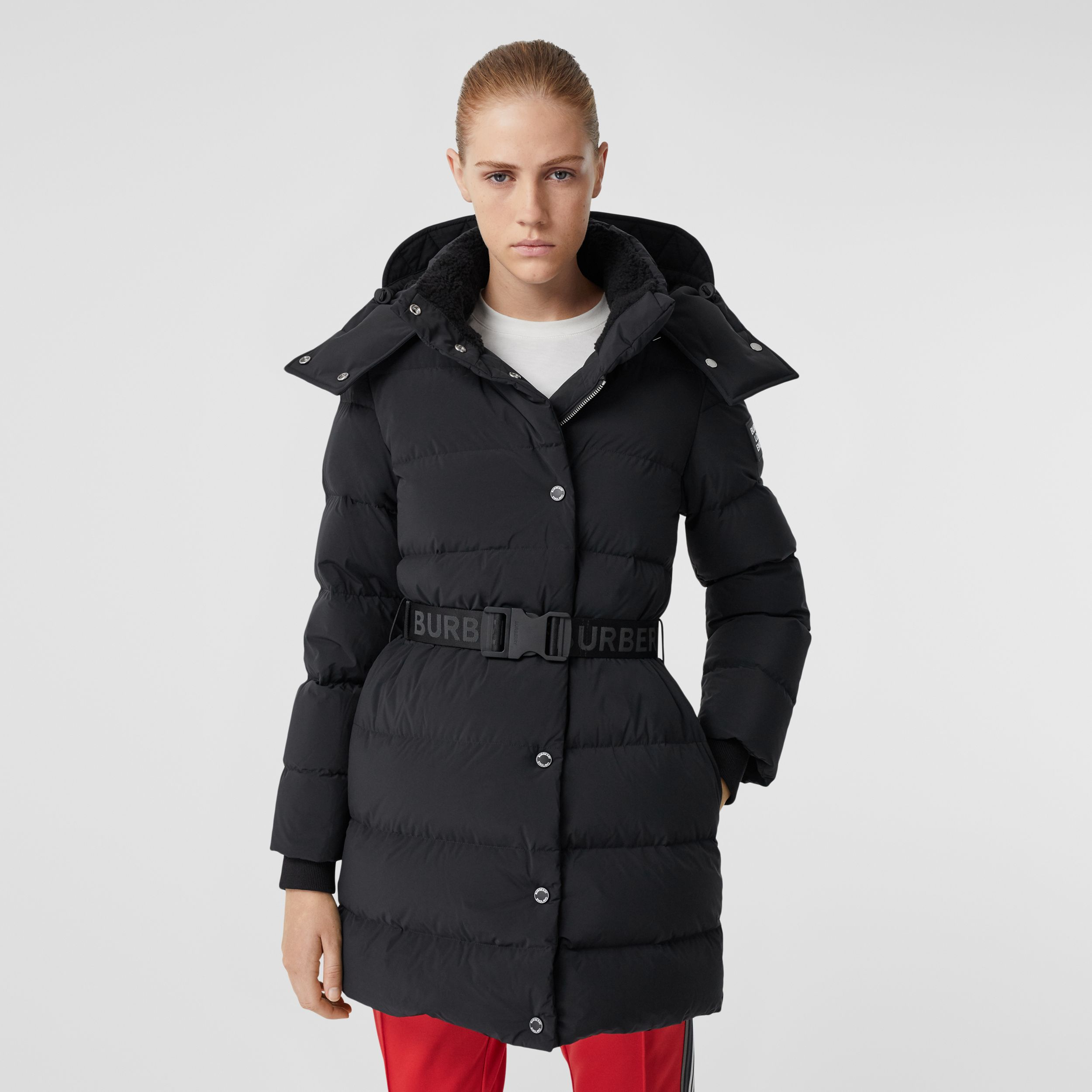 Detachable Hood Belted Puffer Coat in Black - Women | Burberry - 1