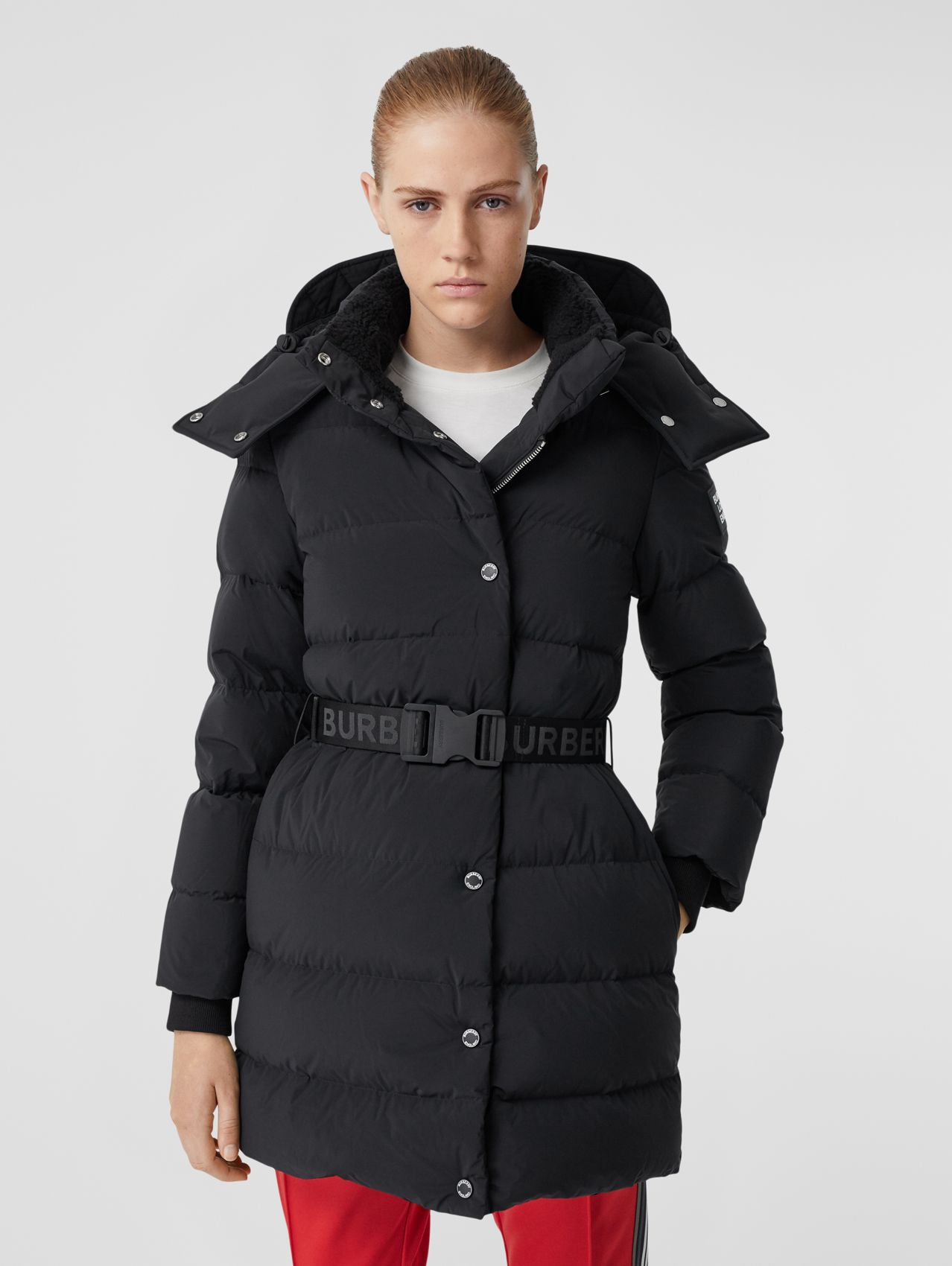 Detachable Hood Belted Puffer Coat (Black)