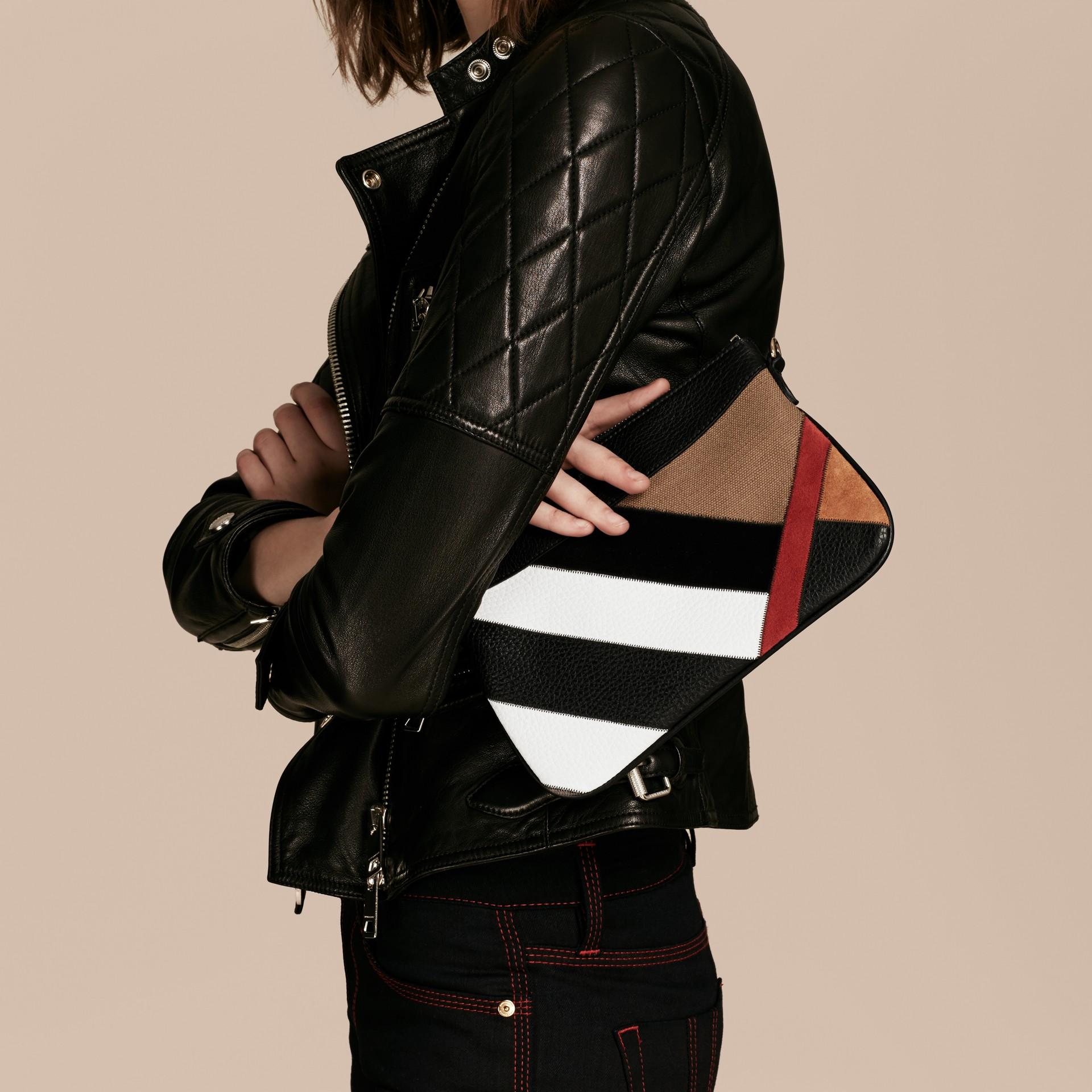 Noir Clutch façon patchwork en cuir, cuir velours et jute de coton à motif check - photo de la galerie 4