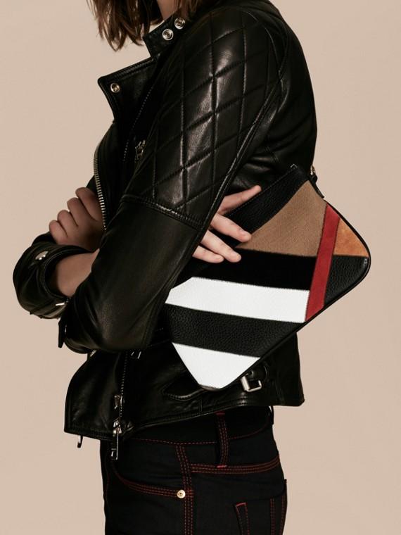 Noir Clutch façon patchwork en cuir, cuir velours et jute de coton à motif check - cell image 3