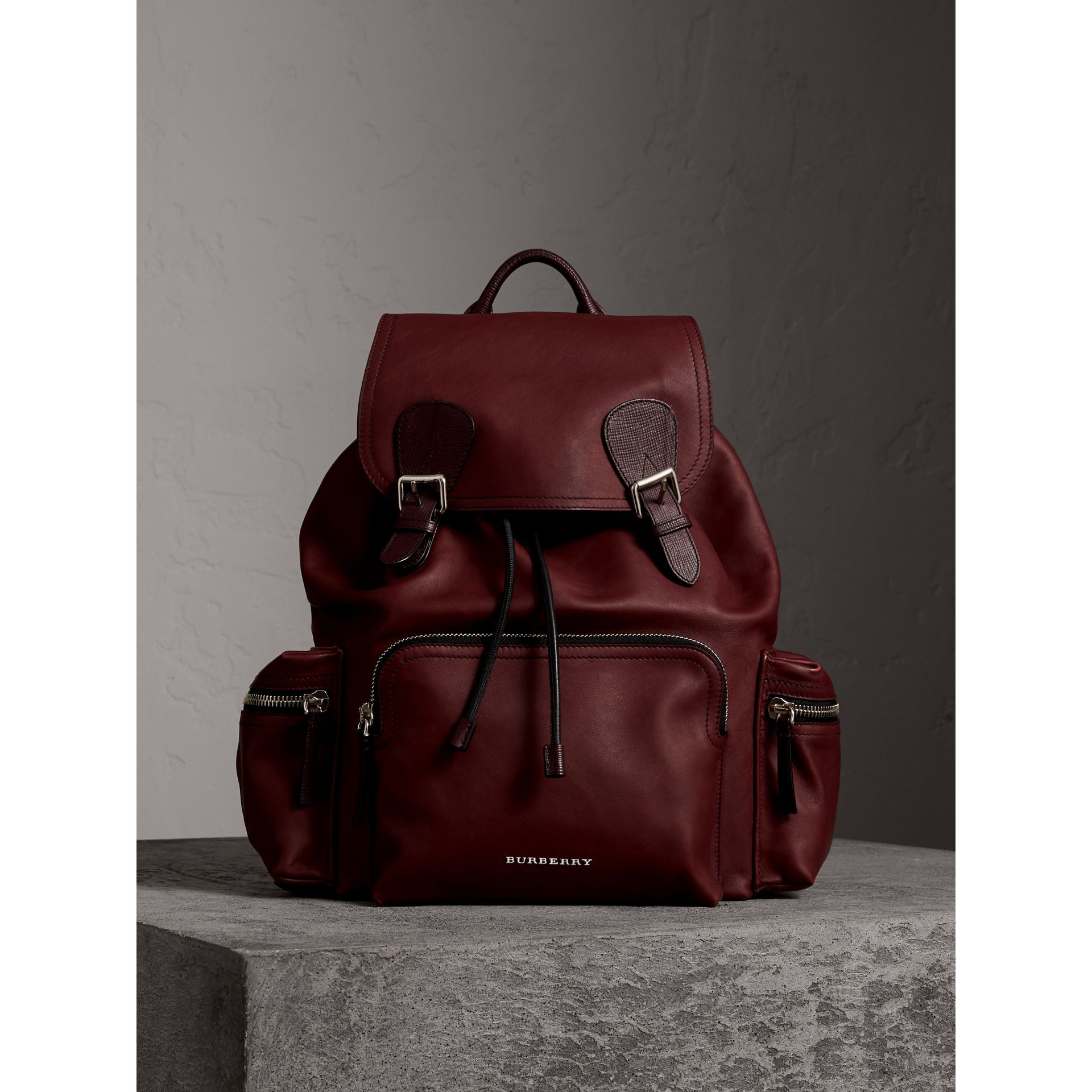 The Large Rucksack in Water-repellent Leather in Burgundy Red - Men | Burberry Australia - gallery image 1