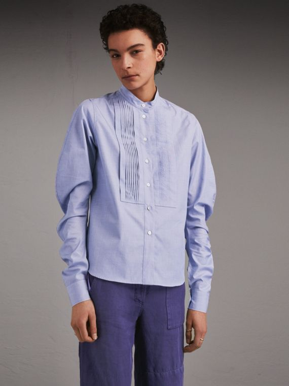 Pintuck Bib Stretch Cotton Shirt in Mid Indigo