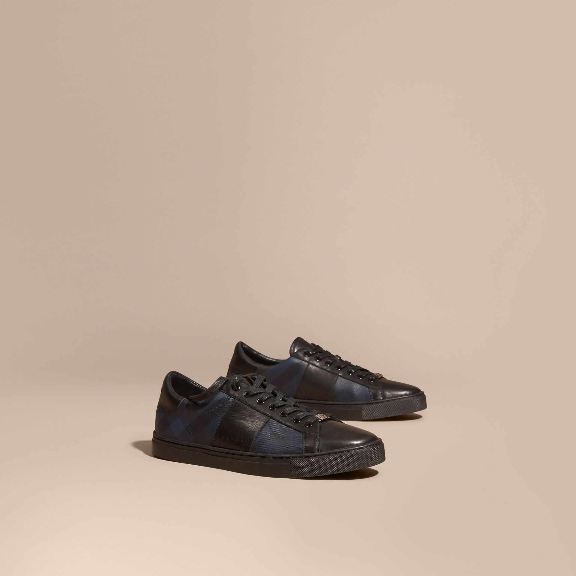 Check Detail Leather Trainers in Navy - Men | Burberry Hong Kong - gallery image 1