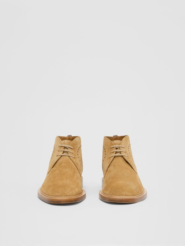 Brogue Detail Suede Boots in Sandy Beige - Men | Burberry - cell image 2