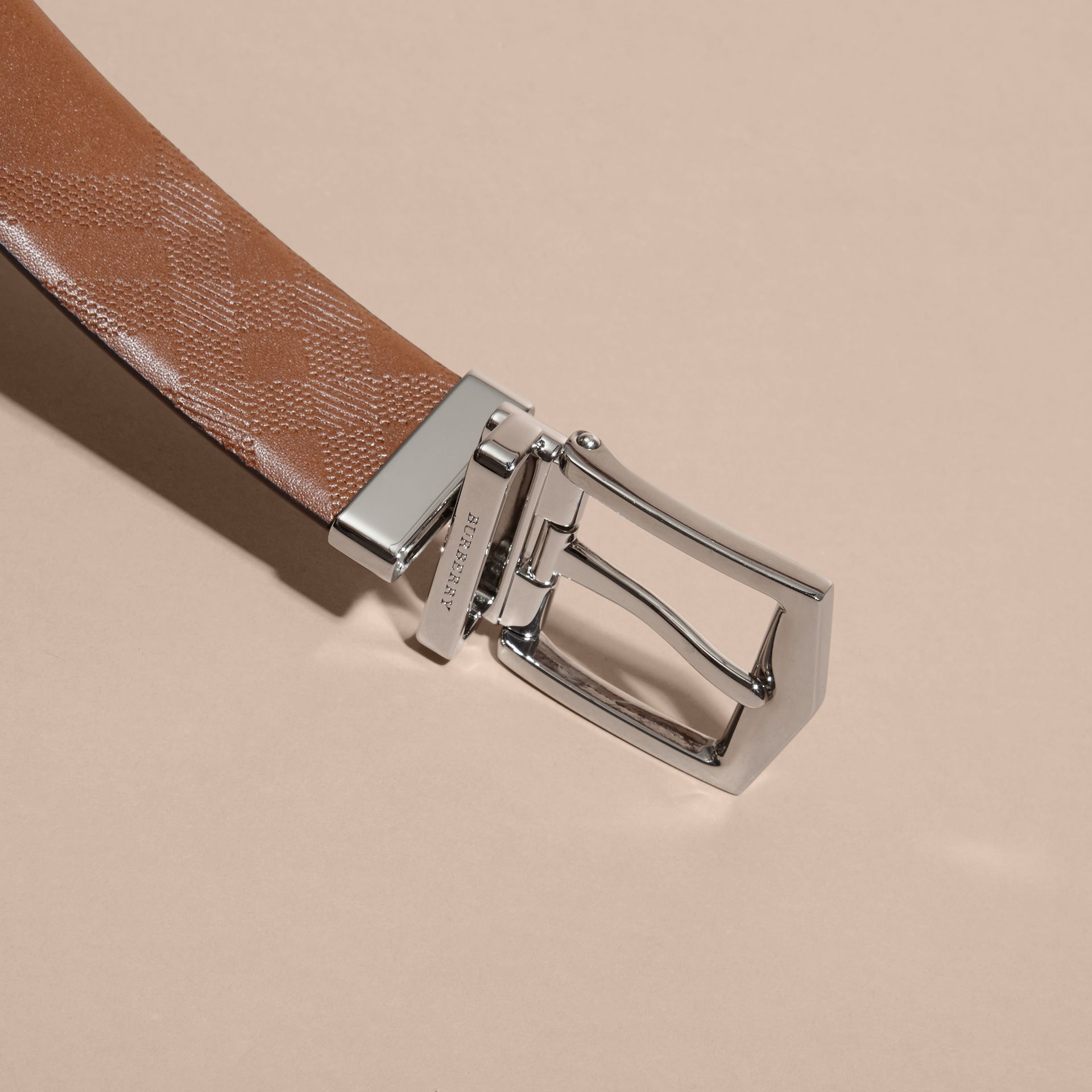 Reversible Embossed Check Leather Belt Tan - gallery image 4