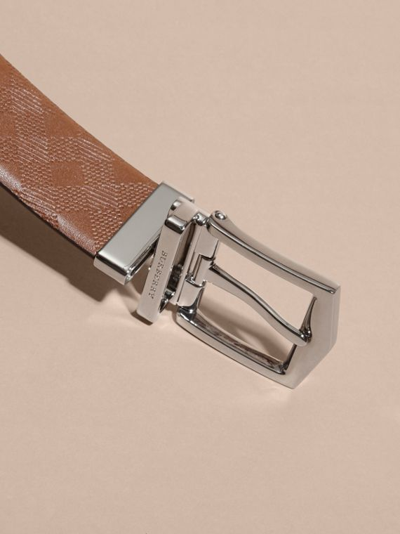 Tan Reversible Embossed Check Leather Belt Tan - cell image 3