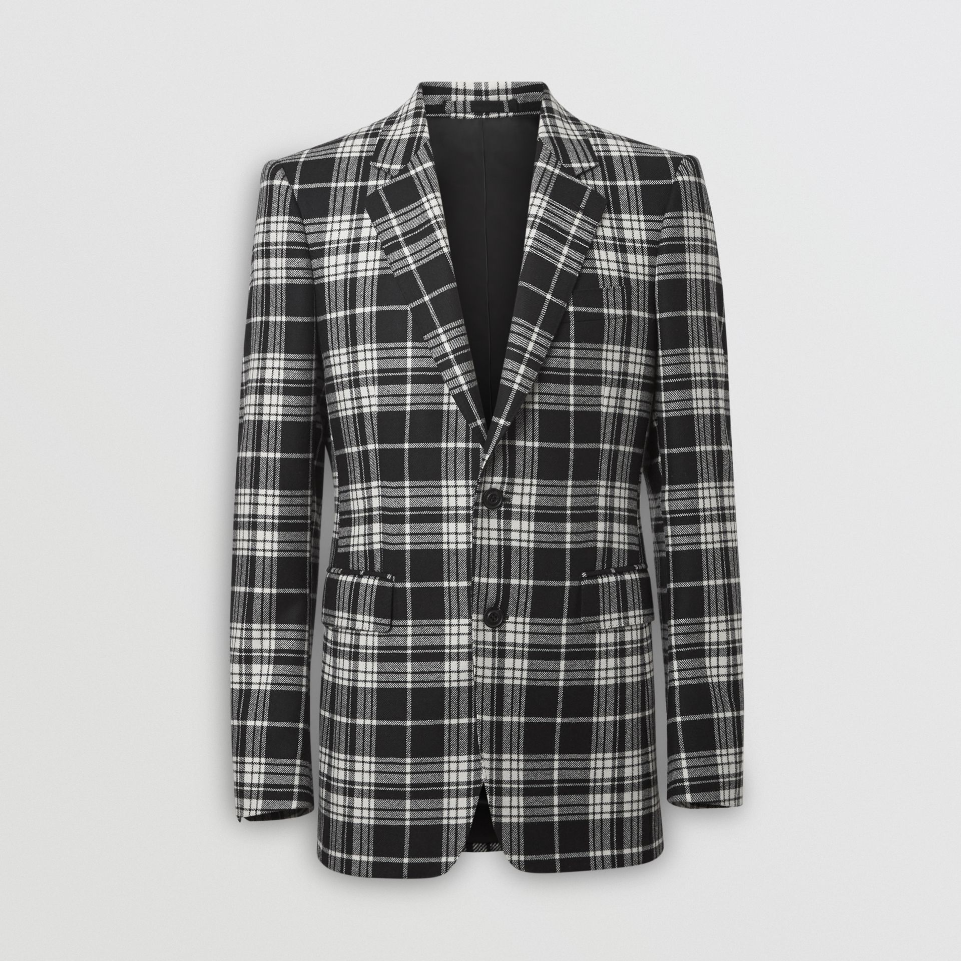 Classic Fit Tartan Wool Cashmere Tailored Jacket in Black - Men | Burberry Singapore - gallery image 3