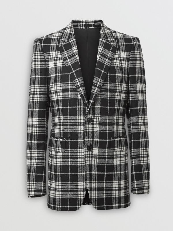 Classic Fit Tartan Wool Cashmere Tailored Jacket in Black - Men | Burberry Singapore - cell image 3