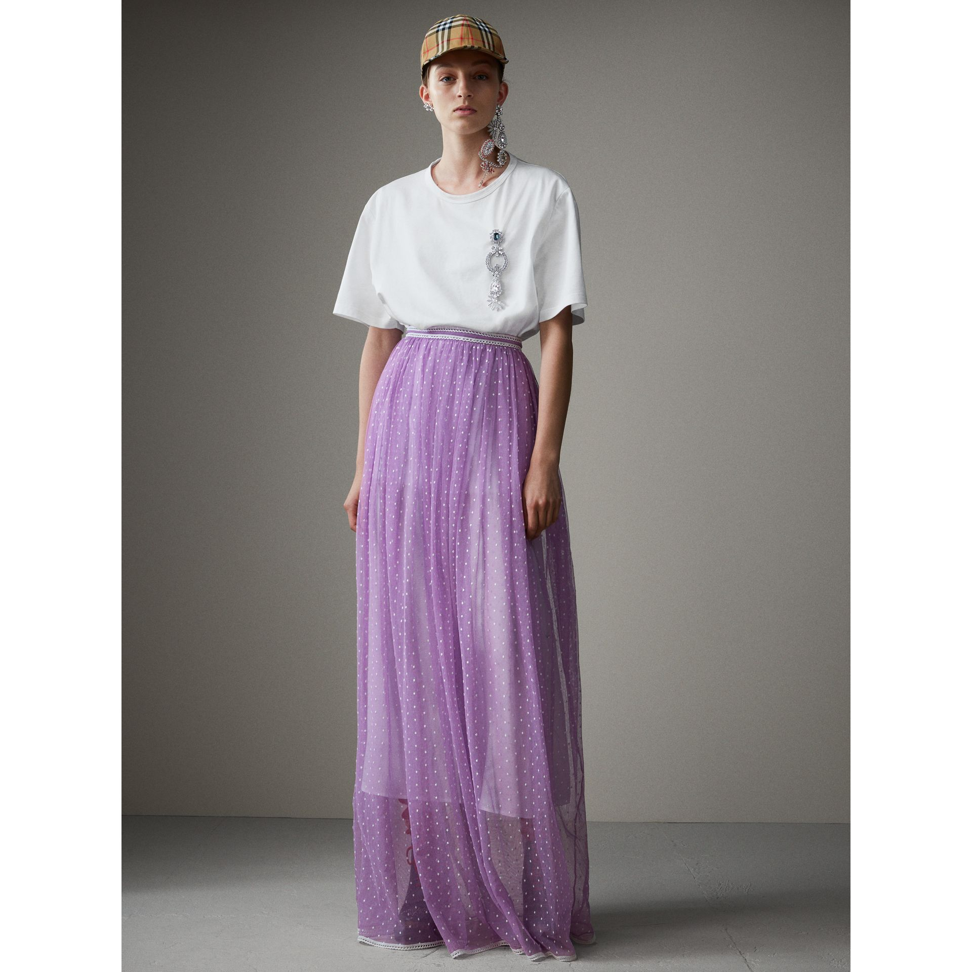 Floor-length Flocked Cotton Tulle Skirt in Lilac/white - Women | Burberry Australia - gallery image 5