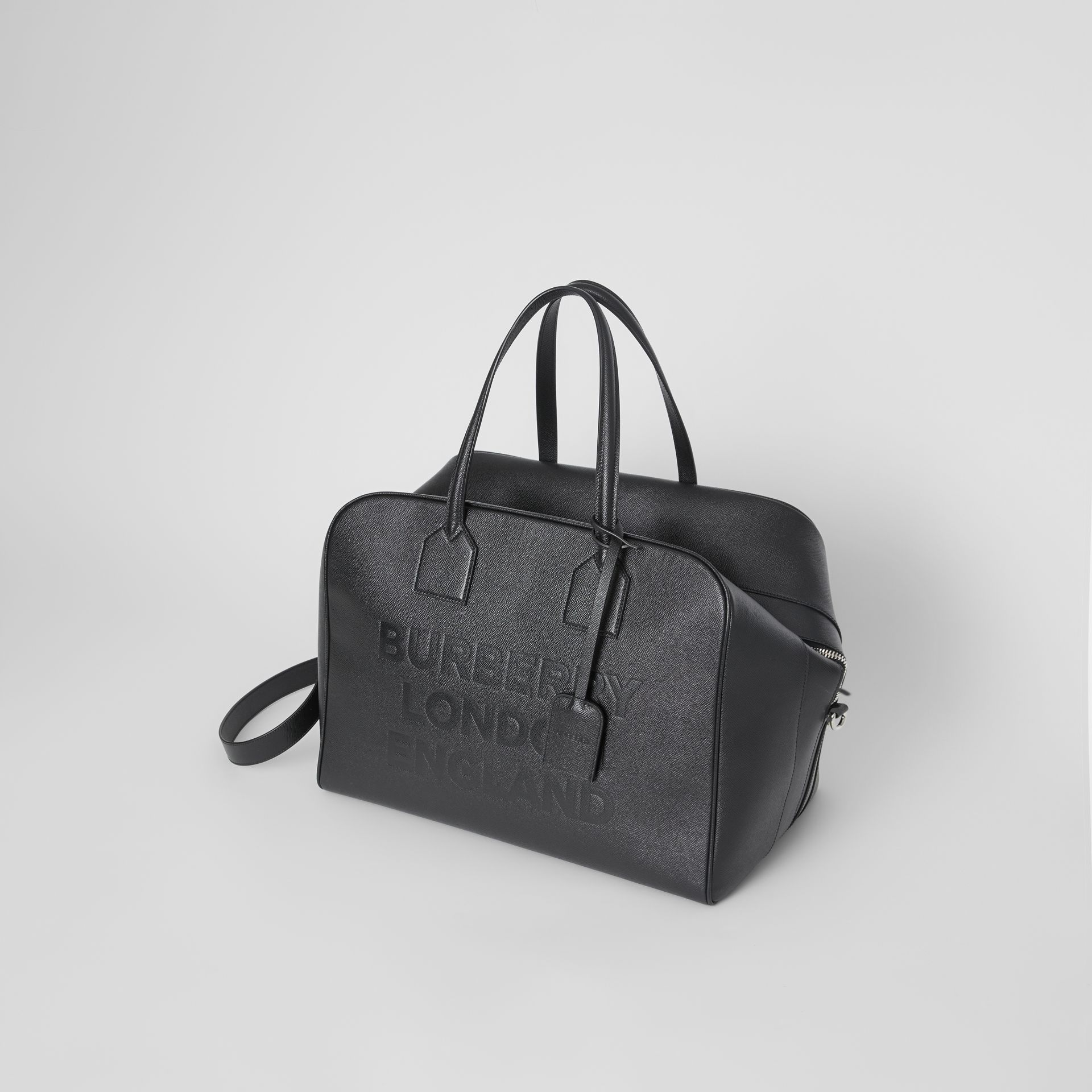 Logo Embossed Leather Holdall in Black | Burberry United Kingdom - gallery image 3