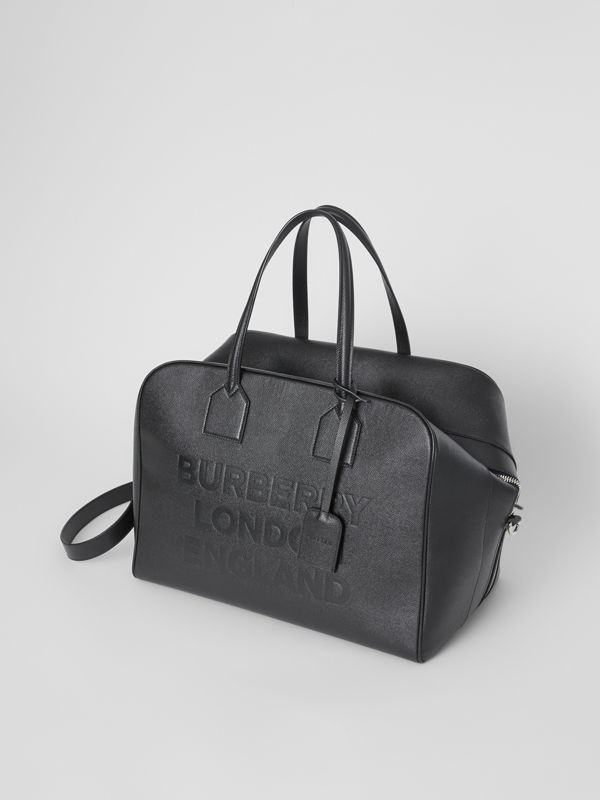Logo Embossed Leather Holdall in Black | Burberry United Kingdom - cell image 3