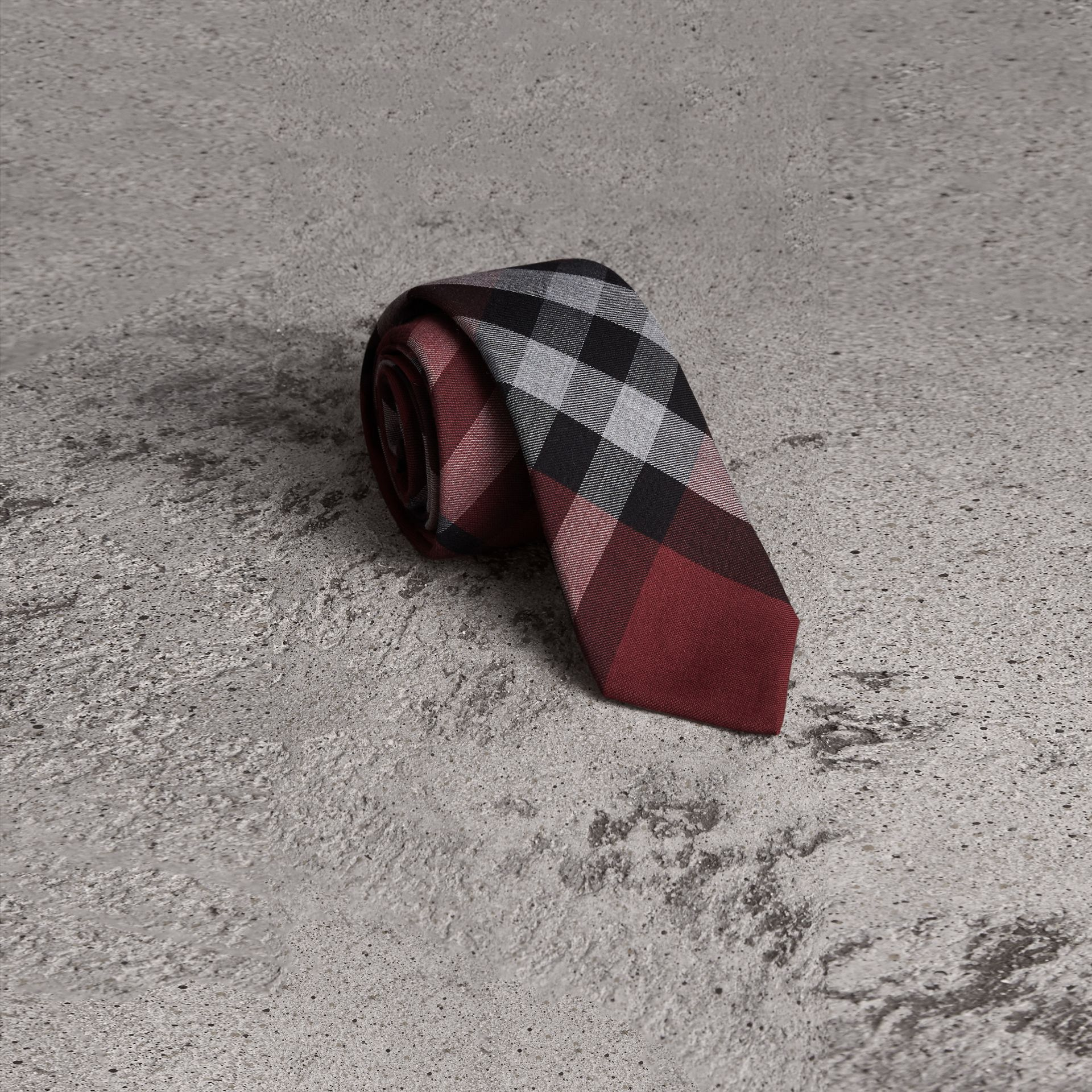 Modern Cut Check Cotton Cashmere Tie in Crimson Red - Men | Burberry - gallery image 0