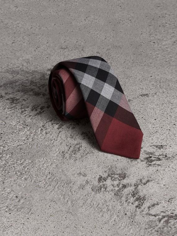 Modern Cut Check Cotton Cashmere Tie in Crimson Red