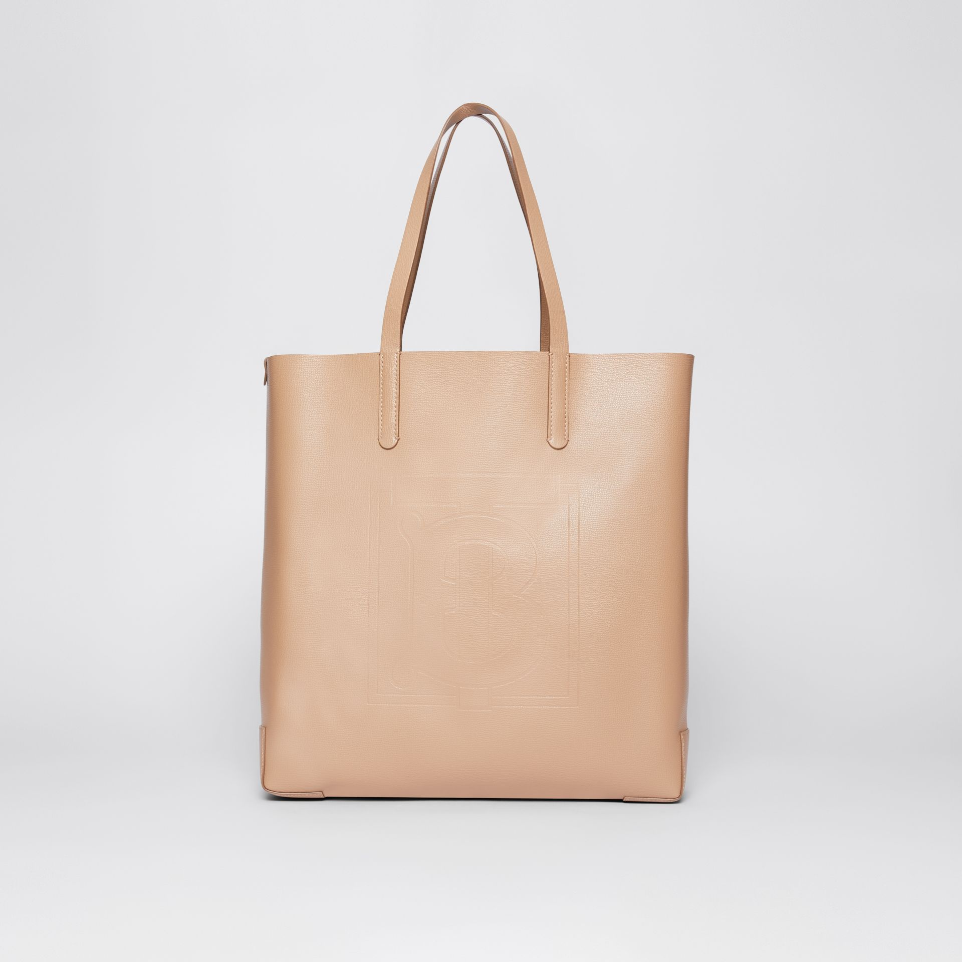 Large Embossed Monogram Motif Leather Tote in Camel | Burberry United Kingdom - gallery image 0