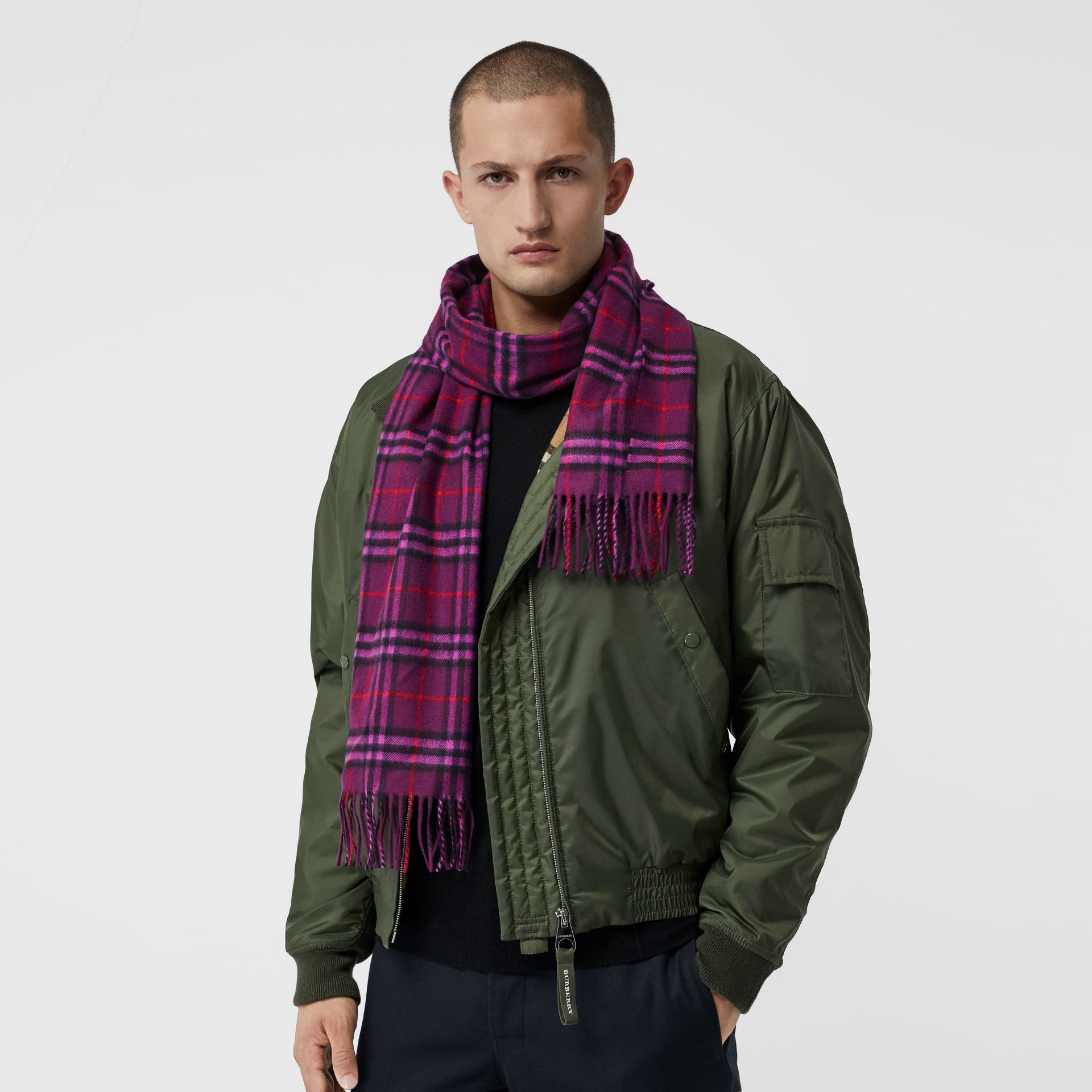 The Classic Vintage Check Cashmere Scarf in Dark Violet | Burberry United Kingdom - gallery image 6