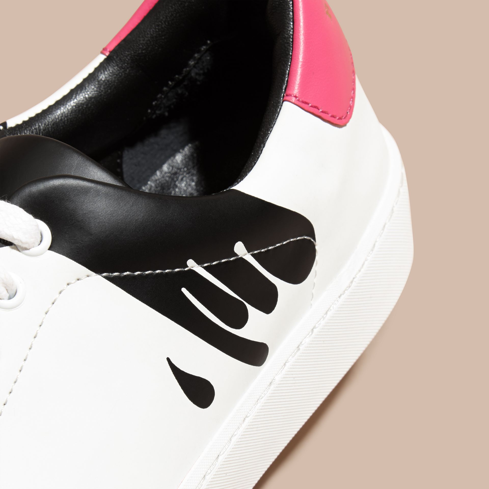 Optic white Splash Motif Leather Trainers - gallery image 2