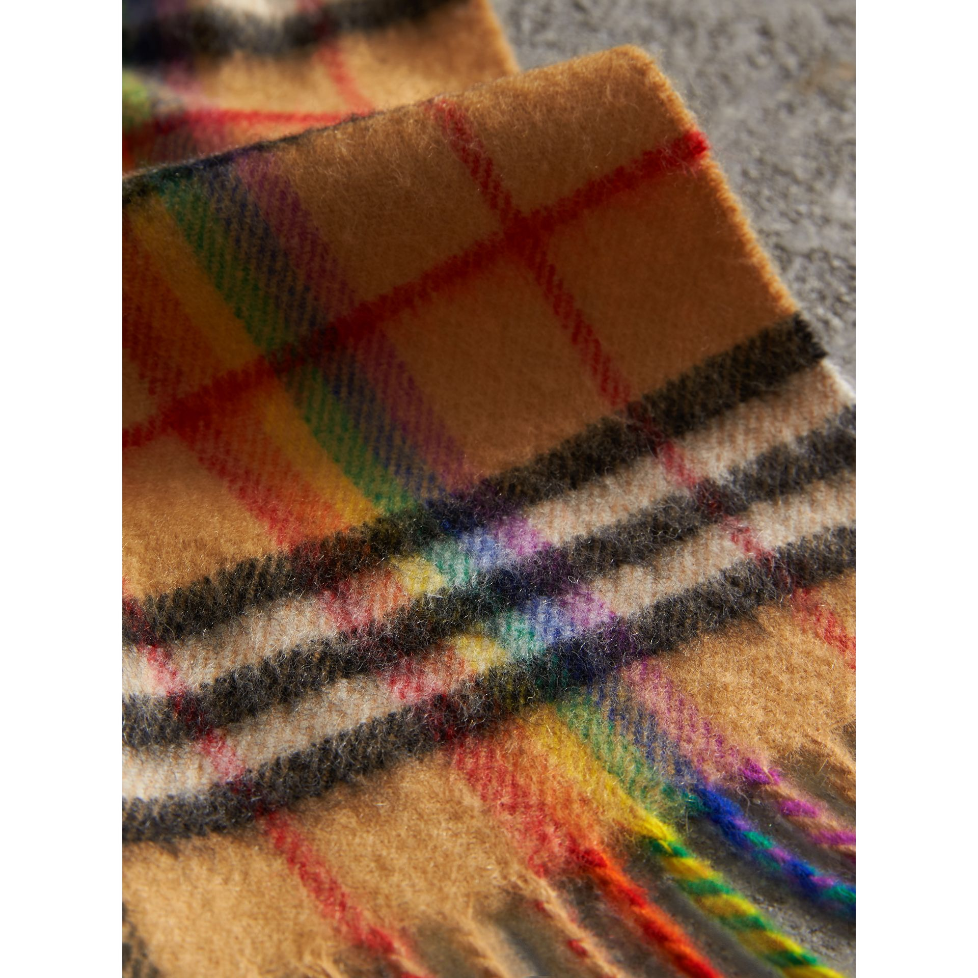 The Classic Rainbow Vintage Check Cashmere Scarf in Antique Yellow | Burberry United Kingdom - gallery image 1