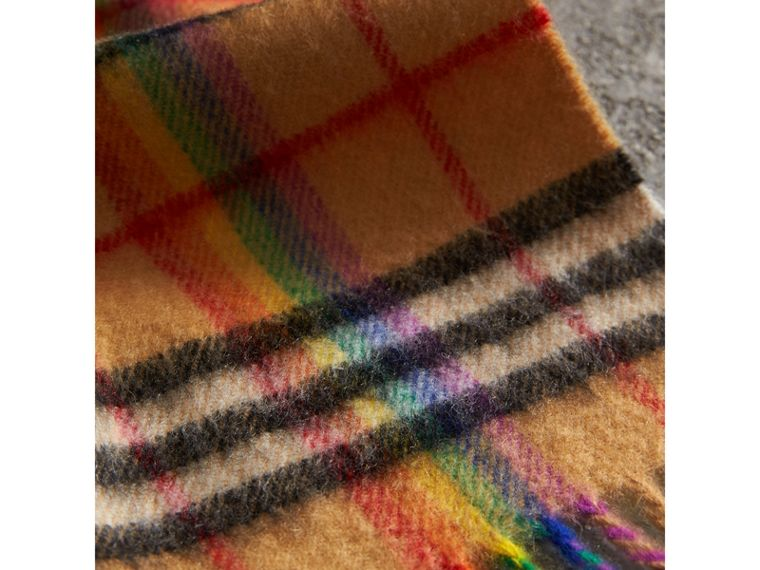 The Classic Rainbow Vintage Check Cashmere Scarf in Antique Yellow | Burberry Australia - cell image 1
