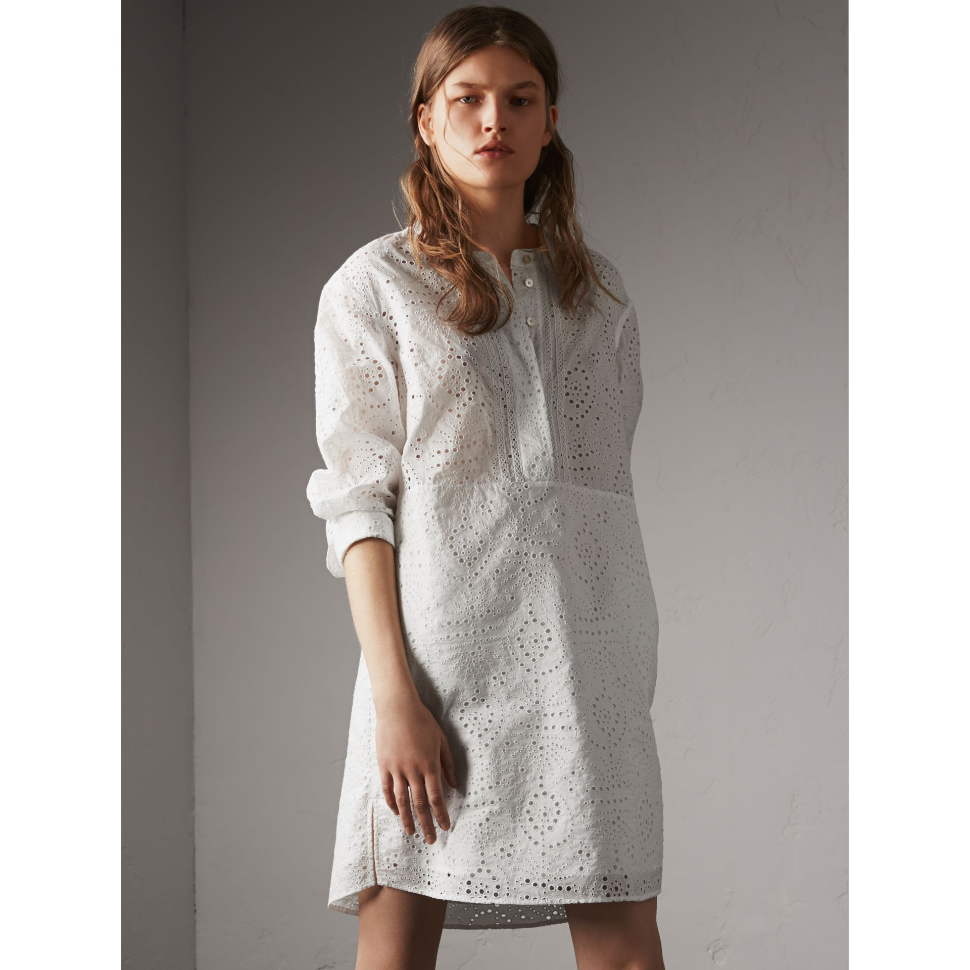 Collarless Broderie Anglaise Shirt Dress - Women | Burberry - gallery image 2