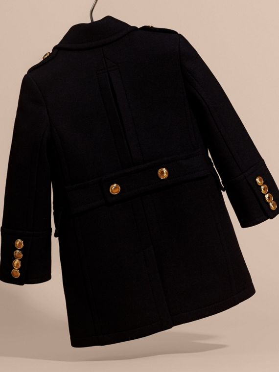 Navy Wool Cashmere Blend Tailored Coat with Domed Buttons - cell image 3