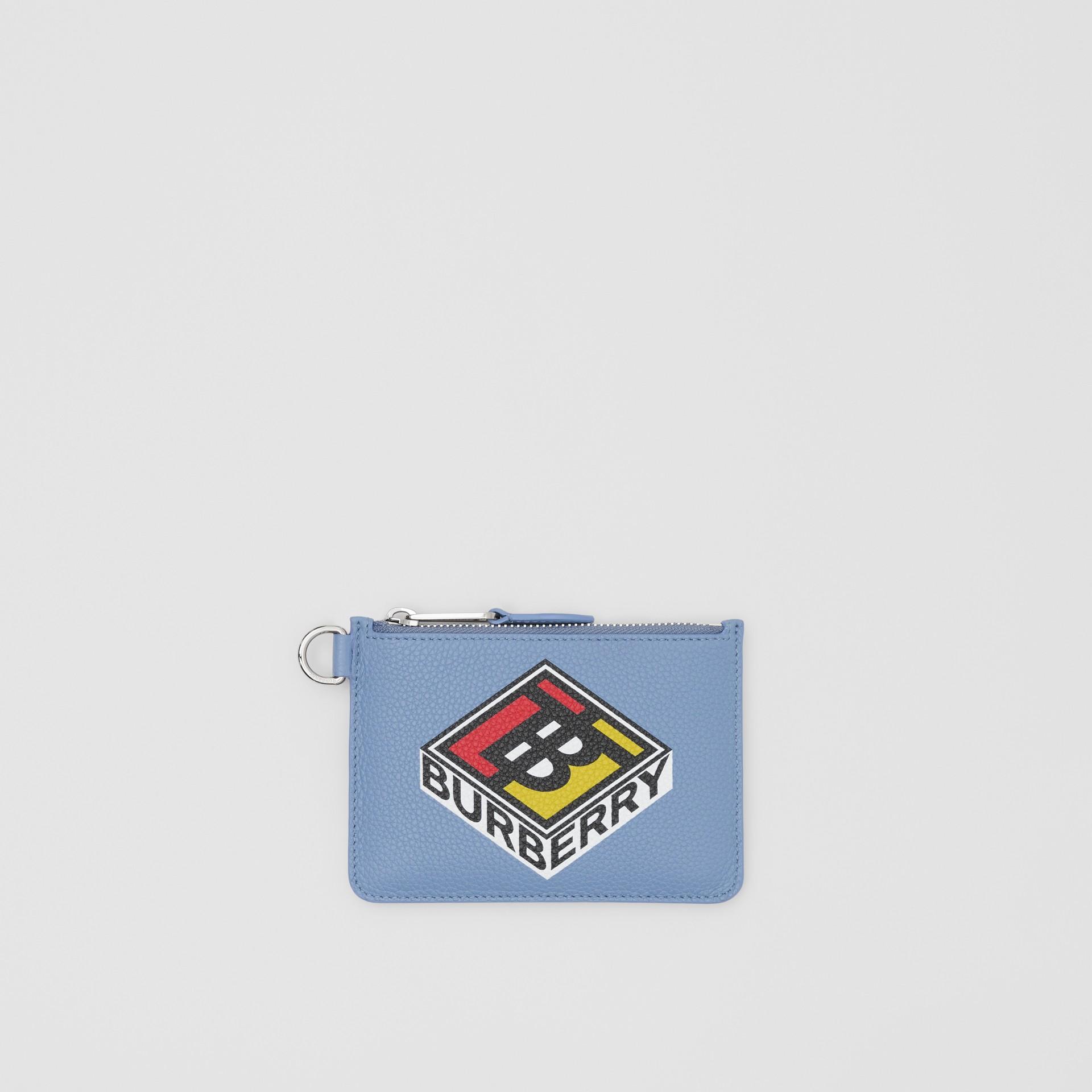 로고 그래픽 레더 지퍼 동전 케이스 (페일 블루벨) - 남성 | Burberry - 갤러리 이미지 0