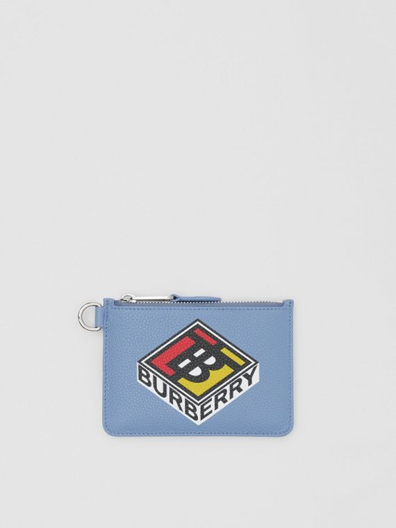 Logo Graphic Leather Zip Coin Case in Pale Bluebell
