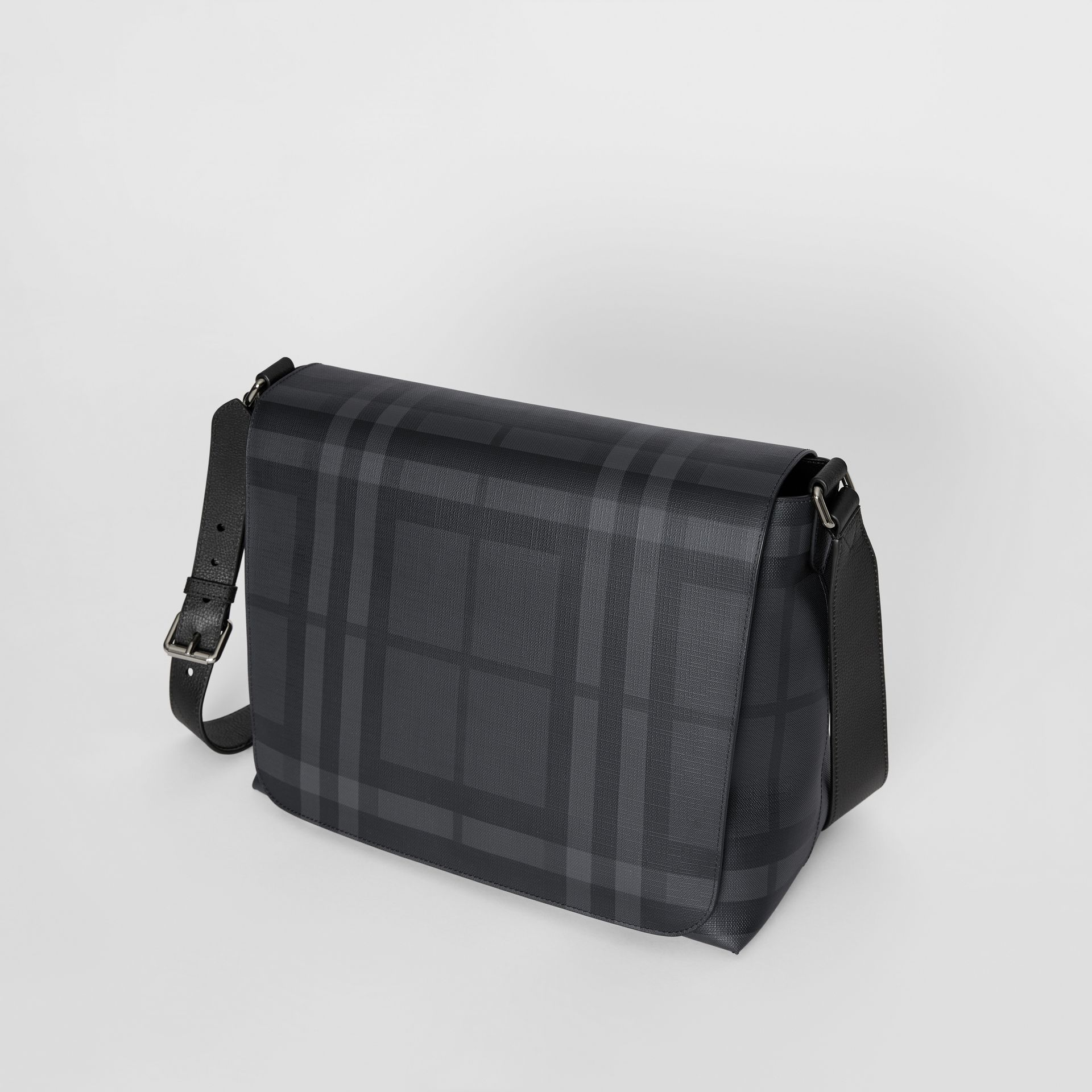 Large London Check Messenger Bag in Charcoal/black | Burberry United Kingdom - gallery image 3