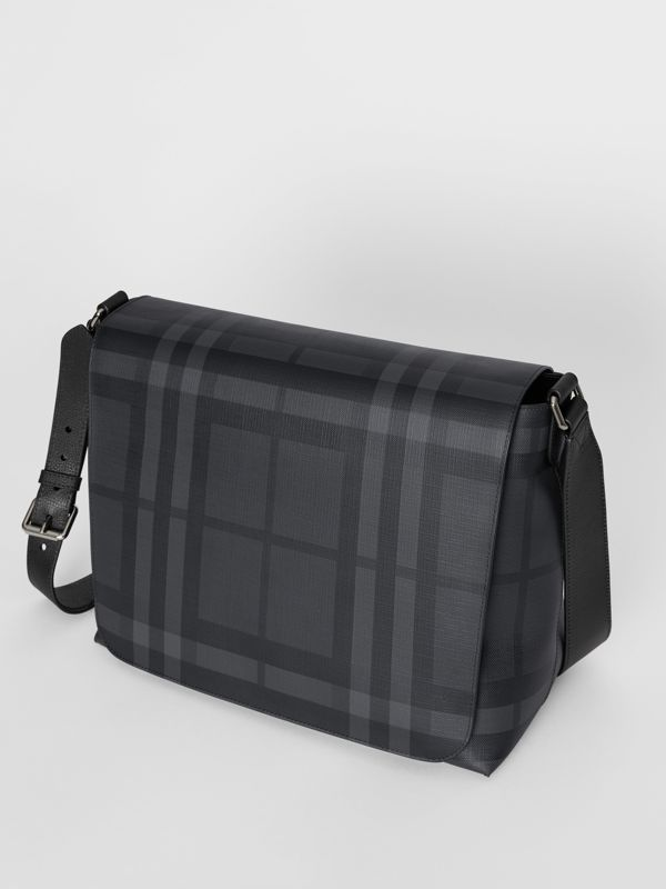 Large London Check Messenger Bag in Charcoal/black | Burberry - cell image 3