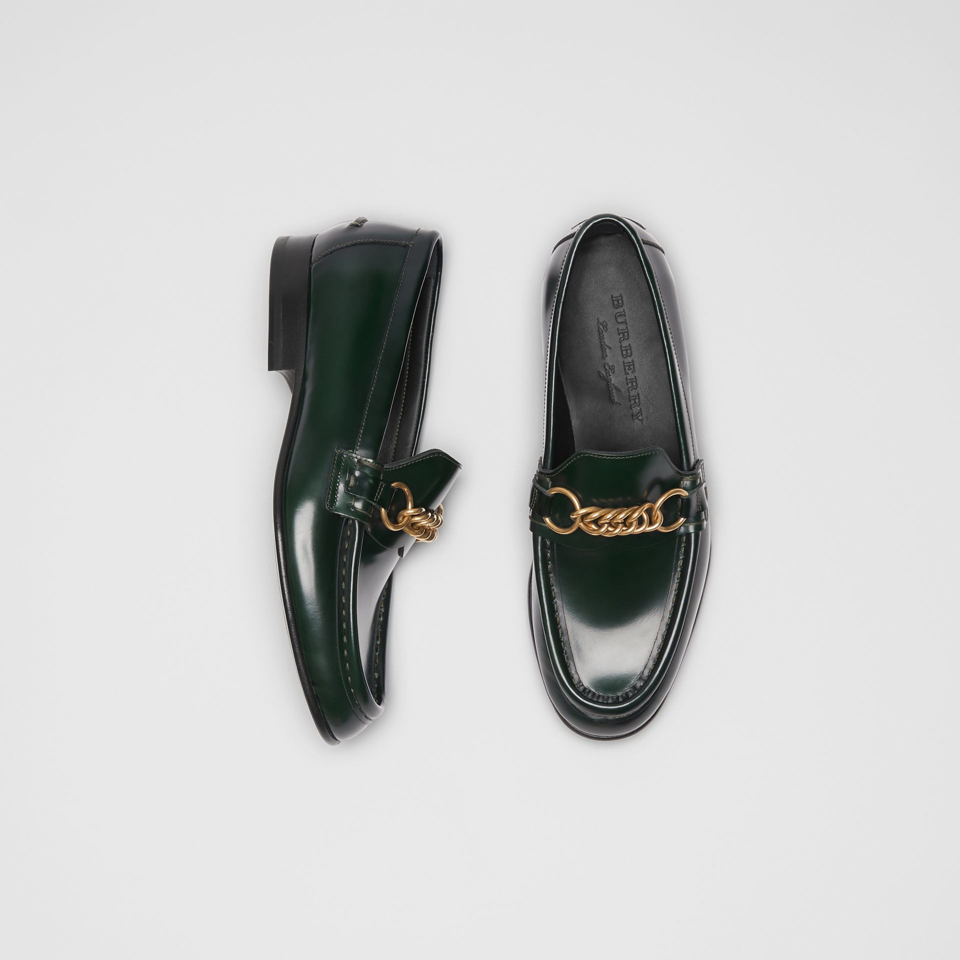 The Leather Link Loafer in Deep Green - Women | Burberry United States - gallery image 0
