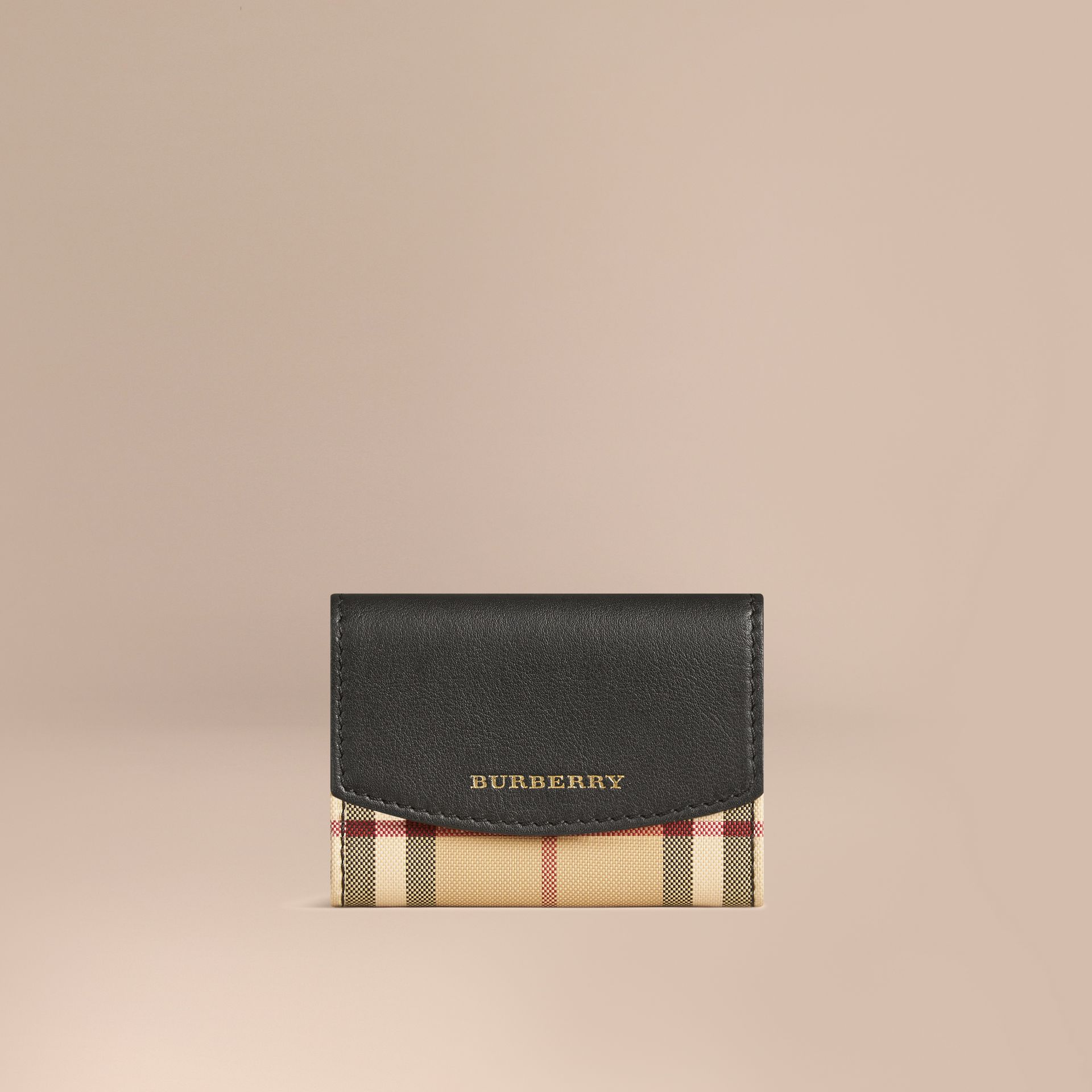 Horseferry Check and Leather Card Case in Black - gallery image 1
