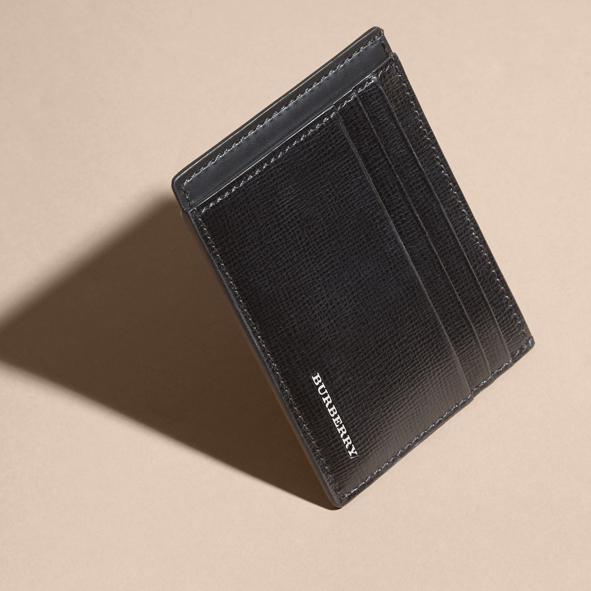 London Leather Card Case in Black | Burberry - gallery image 7