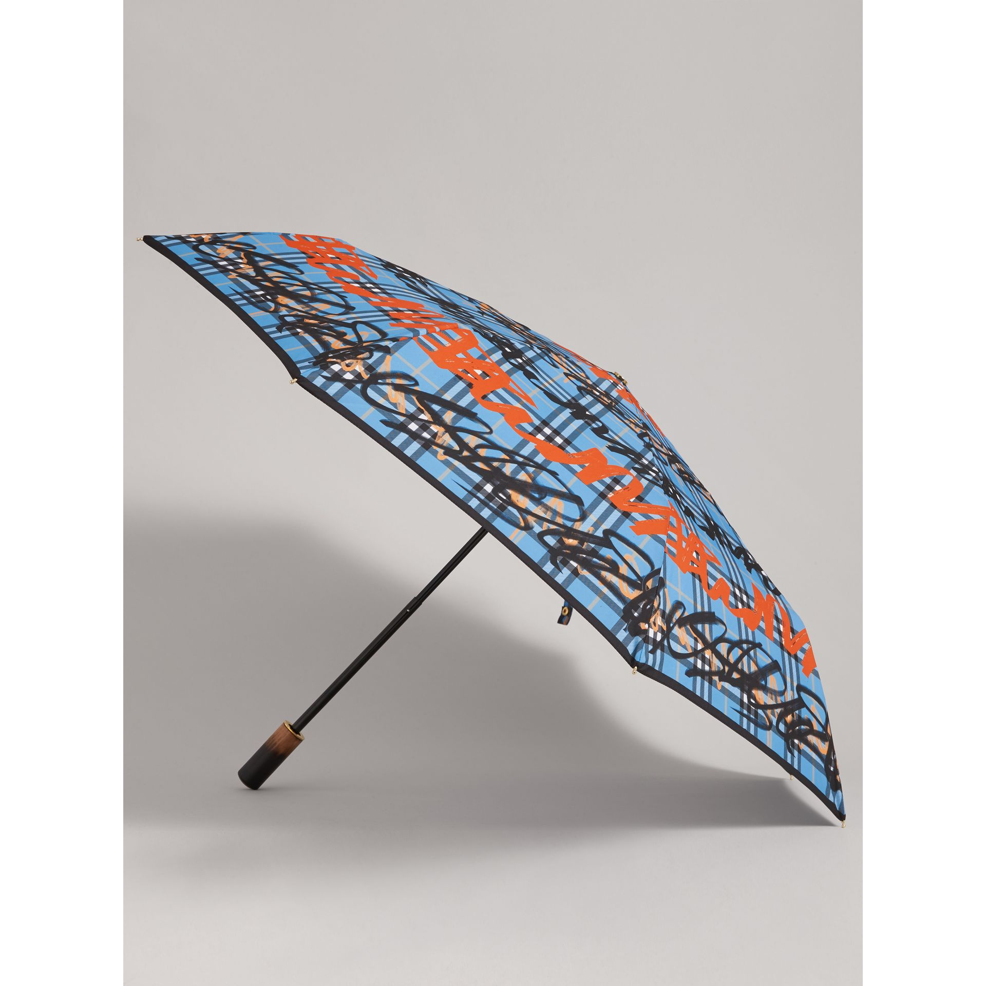 Graffiti Check Folding Umbrella in Light Azure | Burberry - gallery image 3