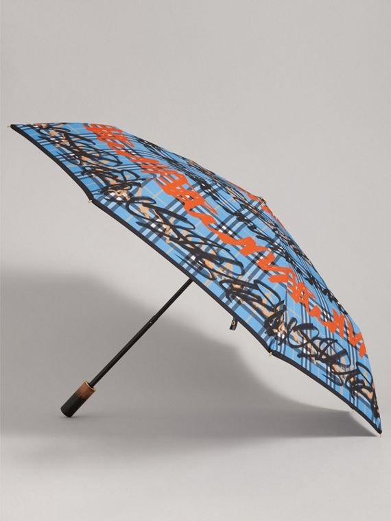 Graffiti Check Folding Umbrella in Light Azure | Burberry Canada - cell image 3