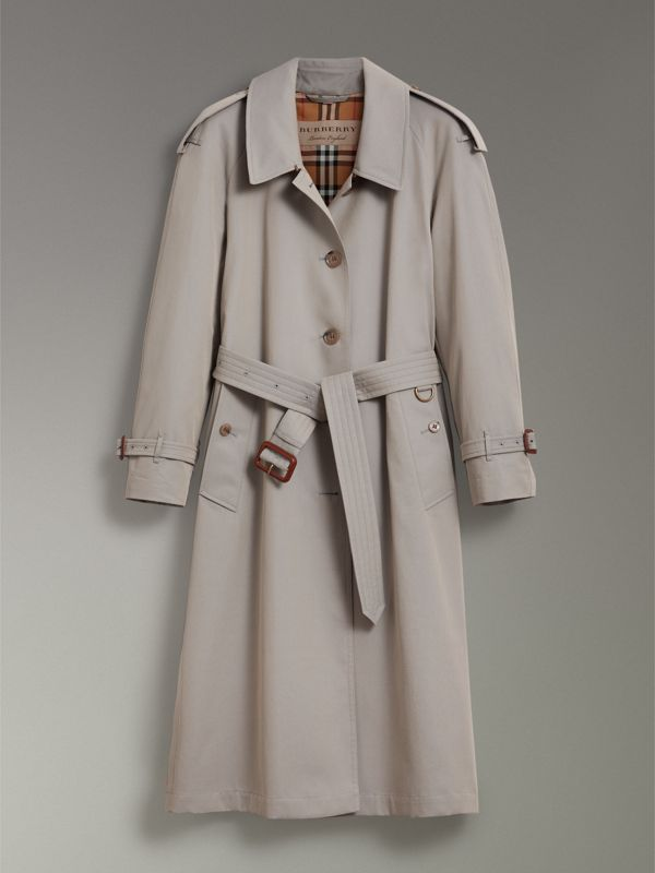 Side-slit Tropical Gabardine Trench Coat in Green Grey - Women | Burberry Australia - cell image 3