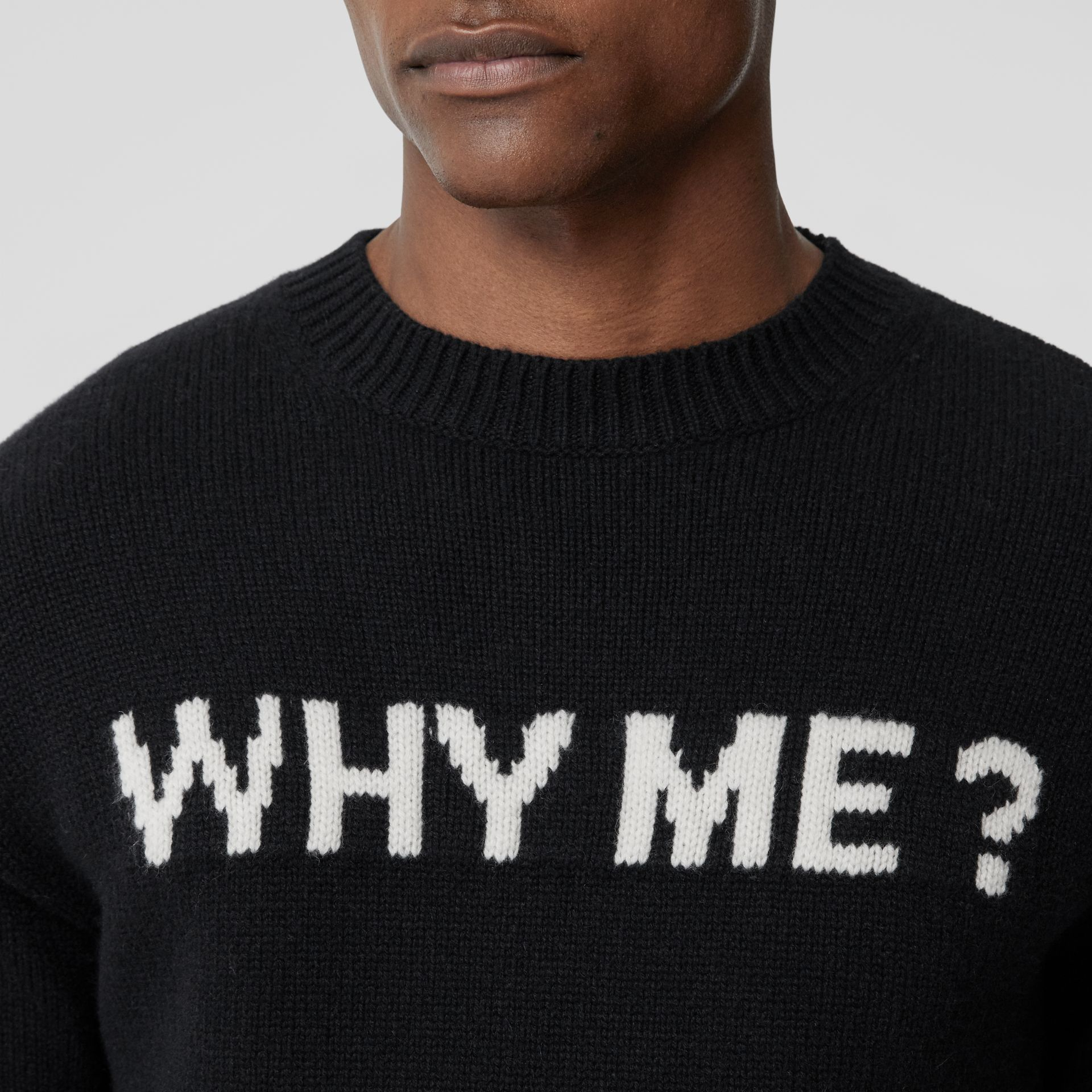 Slogan Intarsia Cashmere Sweater in Black - Men | Burberry Canada - gallery image 1