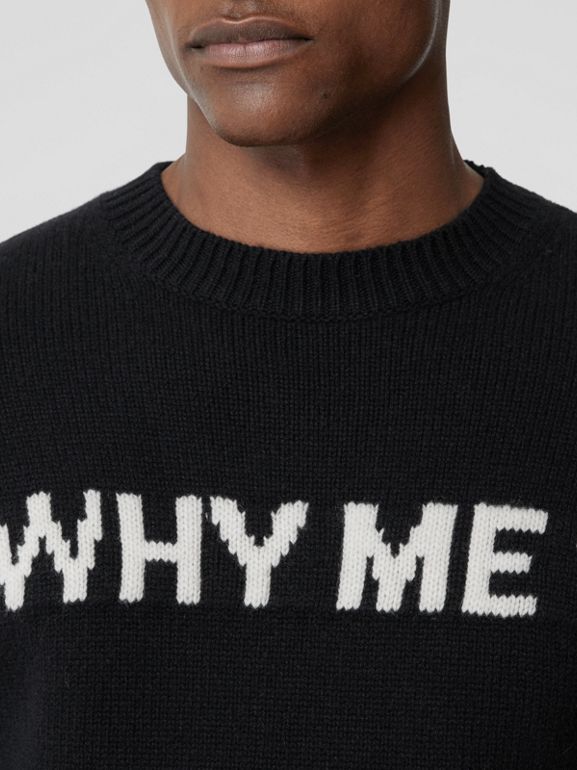 Slogan Intarsia Cashmere Sweater in Black - Men | Burberry - cell image 1