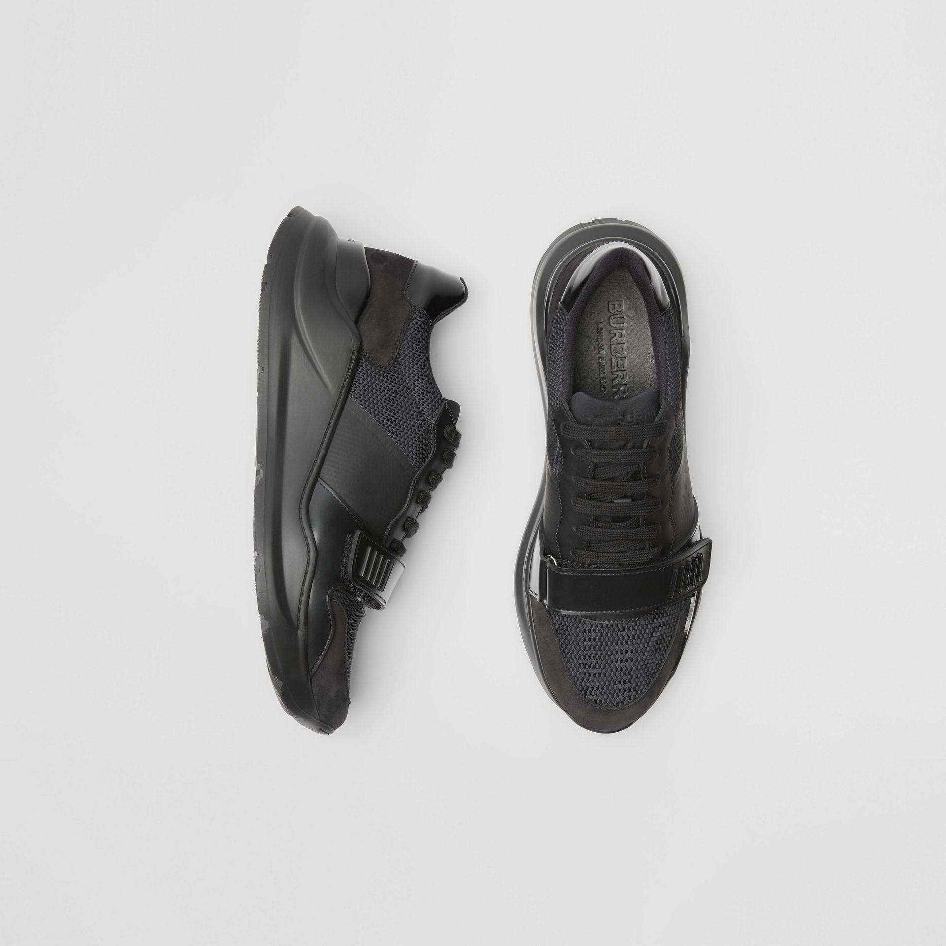 Mesh Detail Suede and Neoprene Sneakers in Black - Men | Burberry - gallery image 0