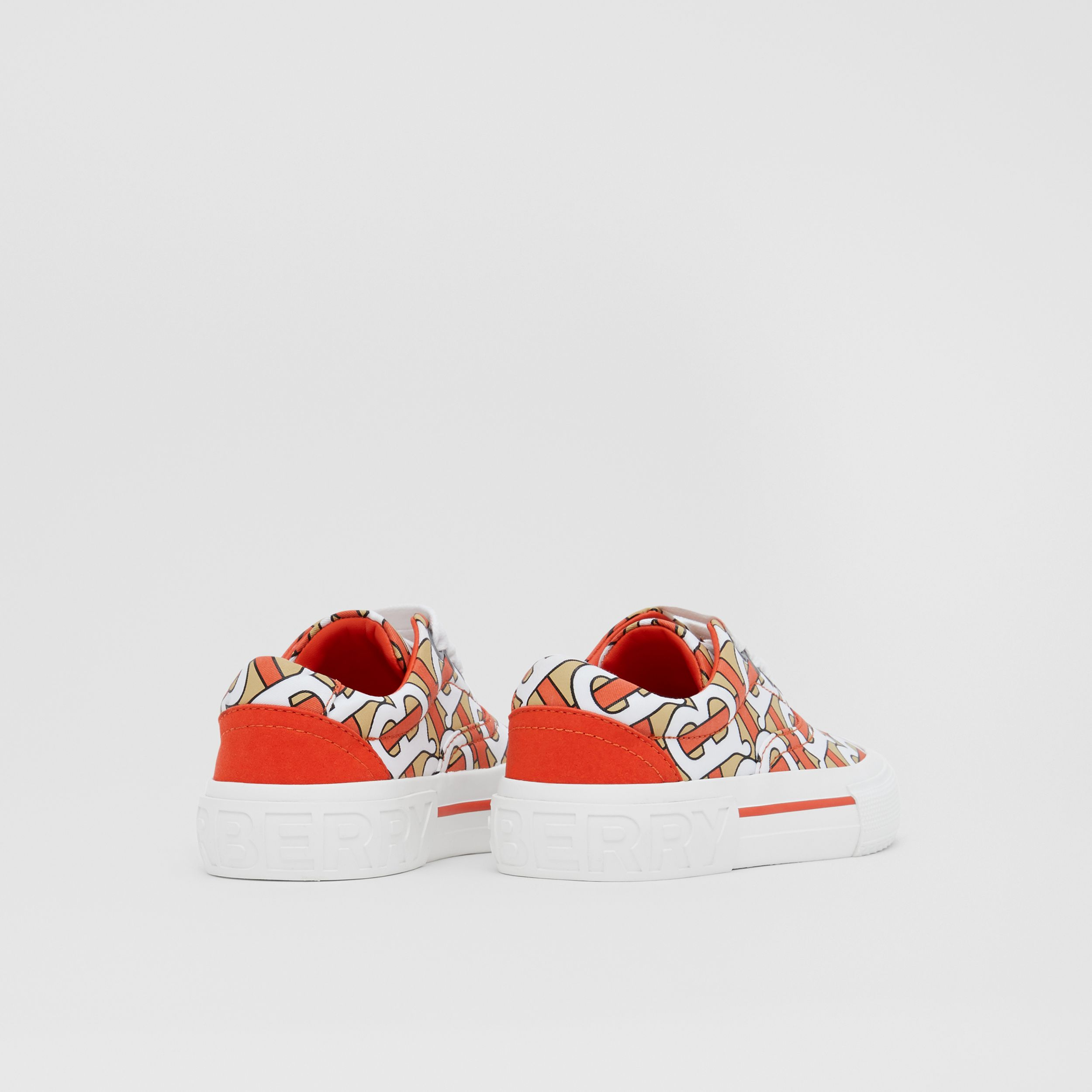 Monogram Print Cotton Gabardine Sneakers in Vermilion - Children | Burberry Canada - 3