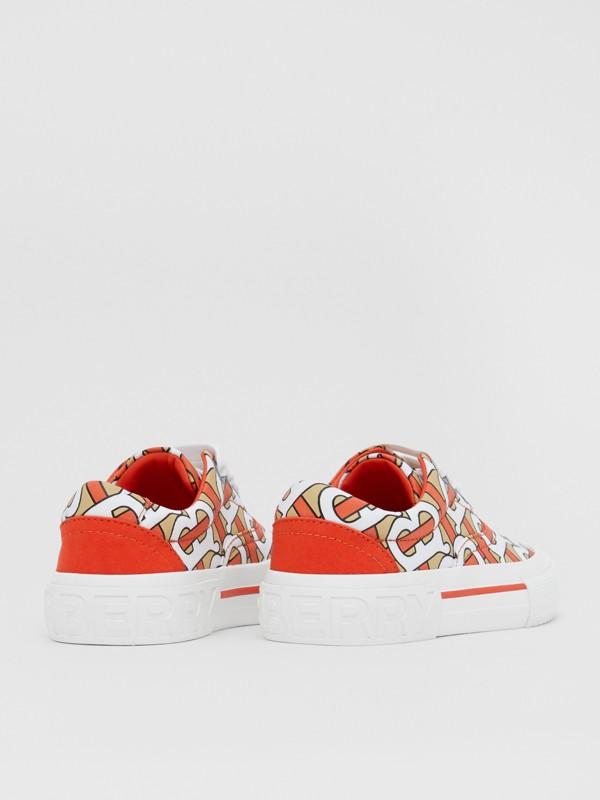 Monogram Print Cotton Gabardine Sneakers in Vermilion - Children | Burberry United States - cell image 2