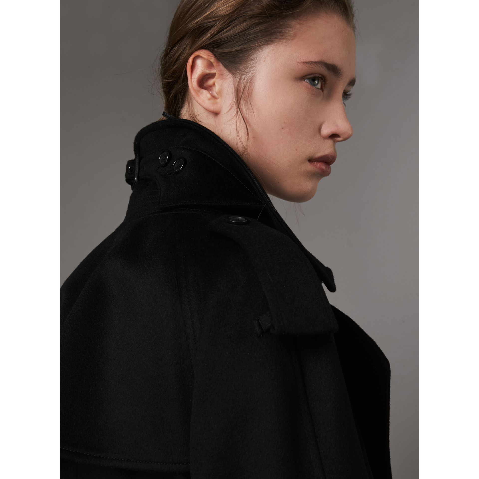 Cashmere Trench Coat in Black - Women | Burberry - gallery image 5