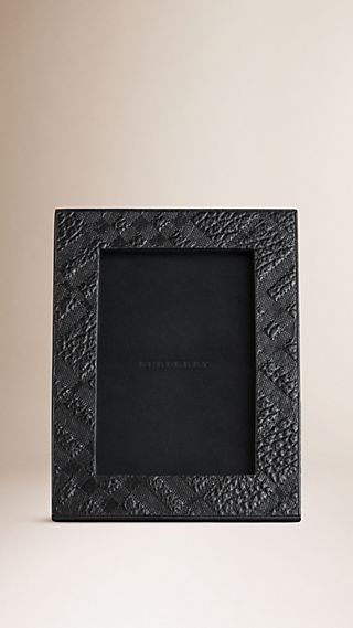 Embossed Check Leather Photo Frame