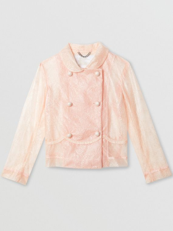 Laminated Lace Jacket in Pale Pink