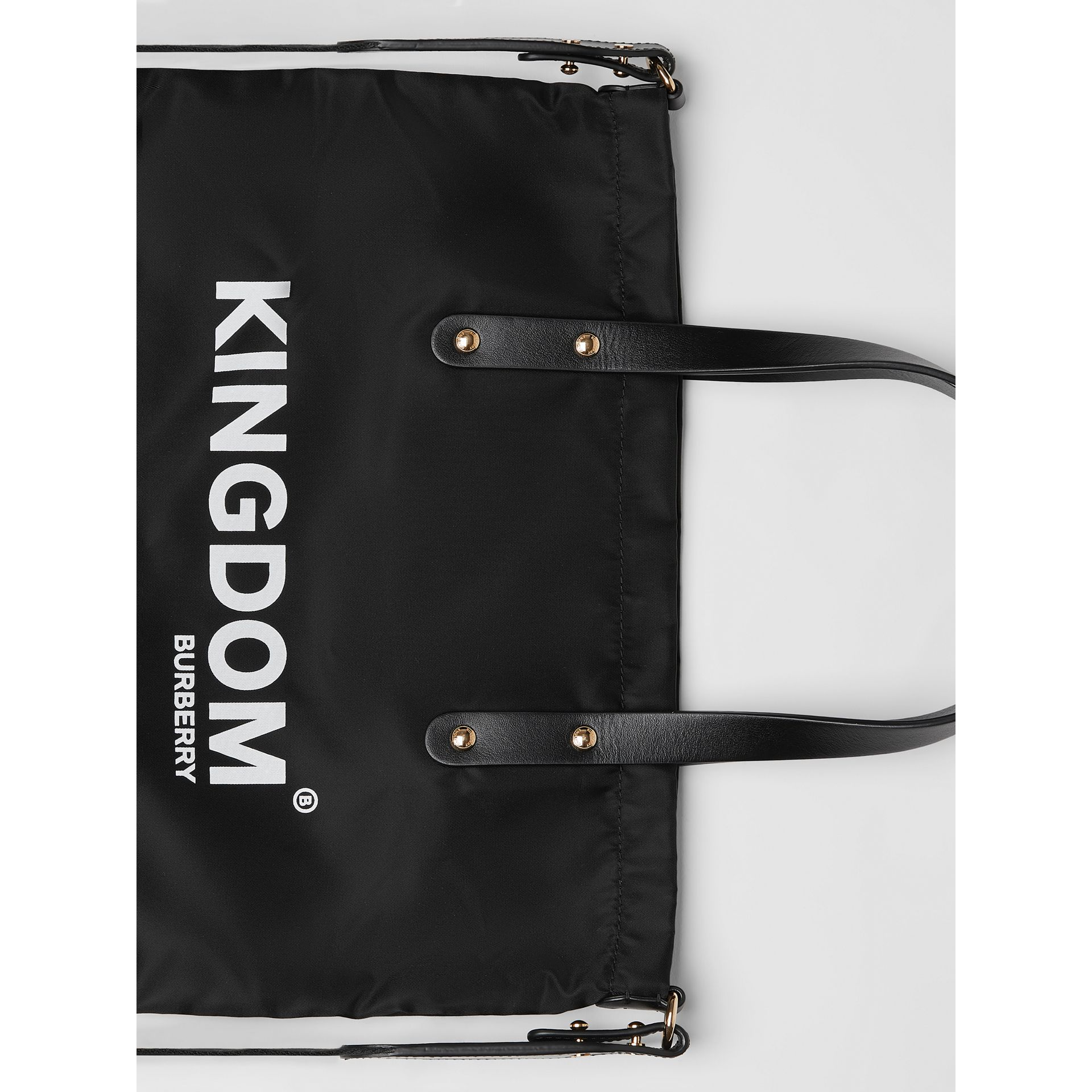 Kingdom Print Nylon Tote in Black | Burberry - gallery image 1