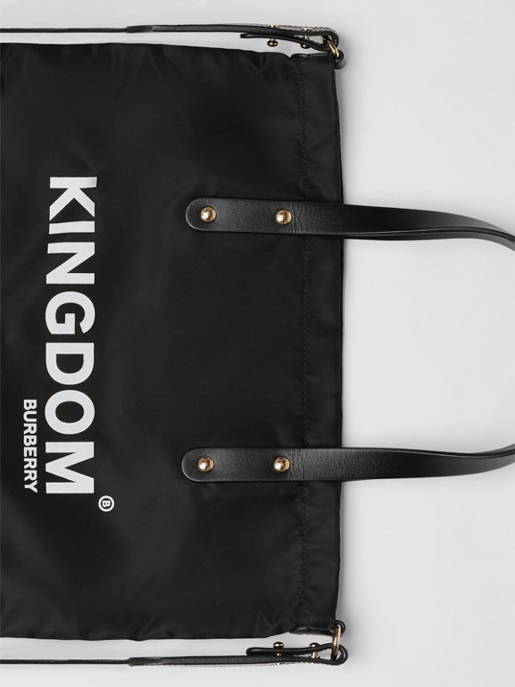 Kingdom Print Nylon Tote in Black | Burberry United States - cell image 1