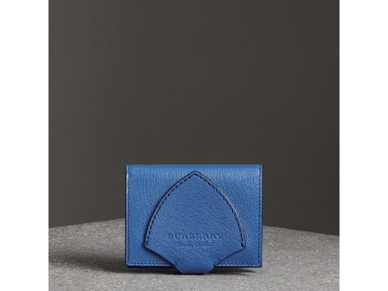 Equestrian Shield Two-tone Leather Folding Wallet in Hydrangea Blue - Women | Burberry - cell image 4