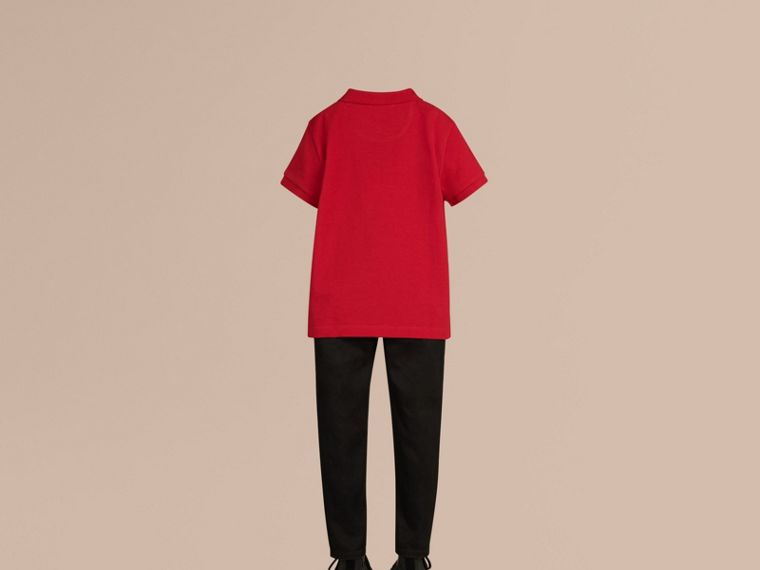 Check Placket Polo Shirt in Military Red - Boy | Burberry Australia - cell image 2