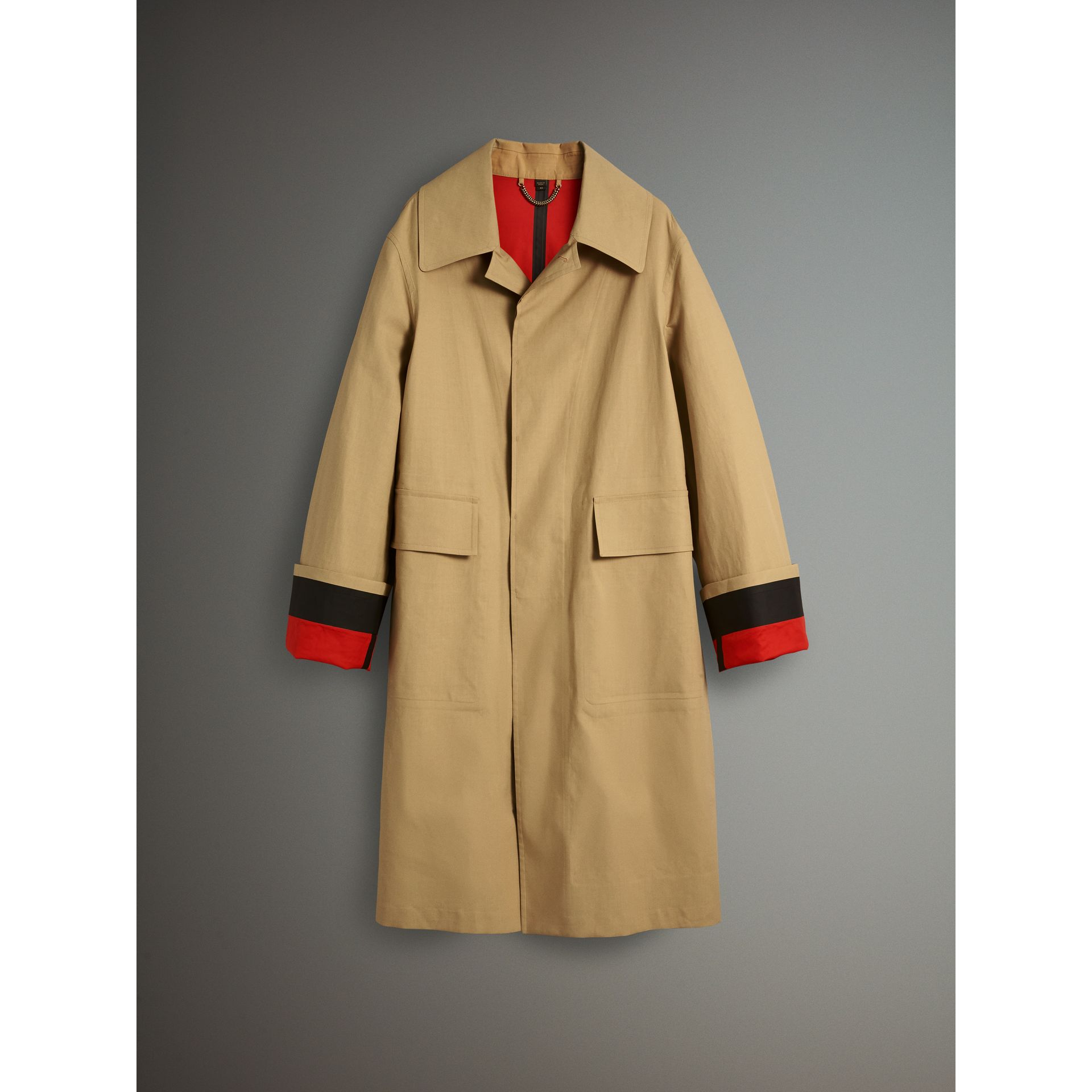 Bonded Cotton Oversized Seam-sealed Car Coat in Beige/red - Men | Burberry Singapore - gallery image 4