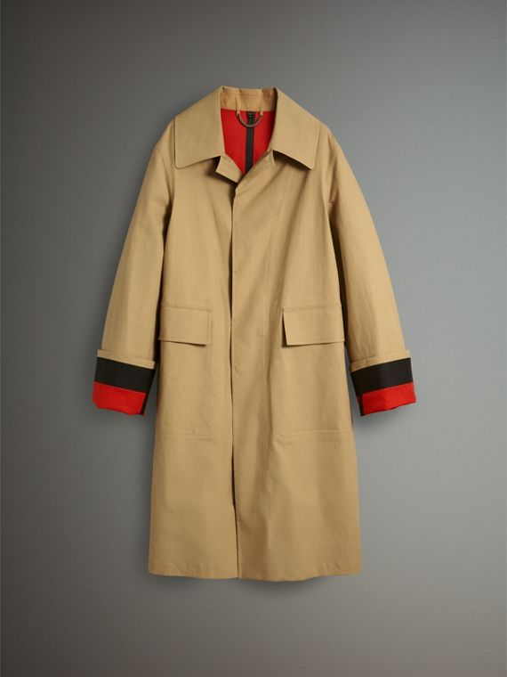Bonded Cotton Oversized Seam-sealed Car Coat in Beige/red - Men | Burberry Singapore - cell image 3