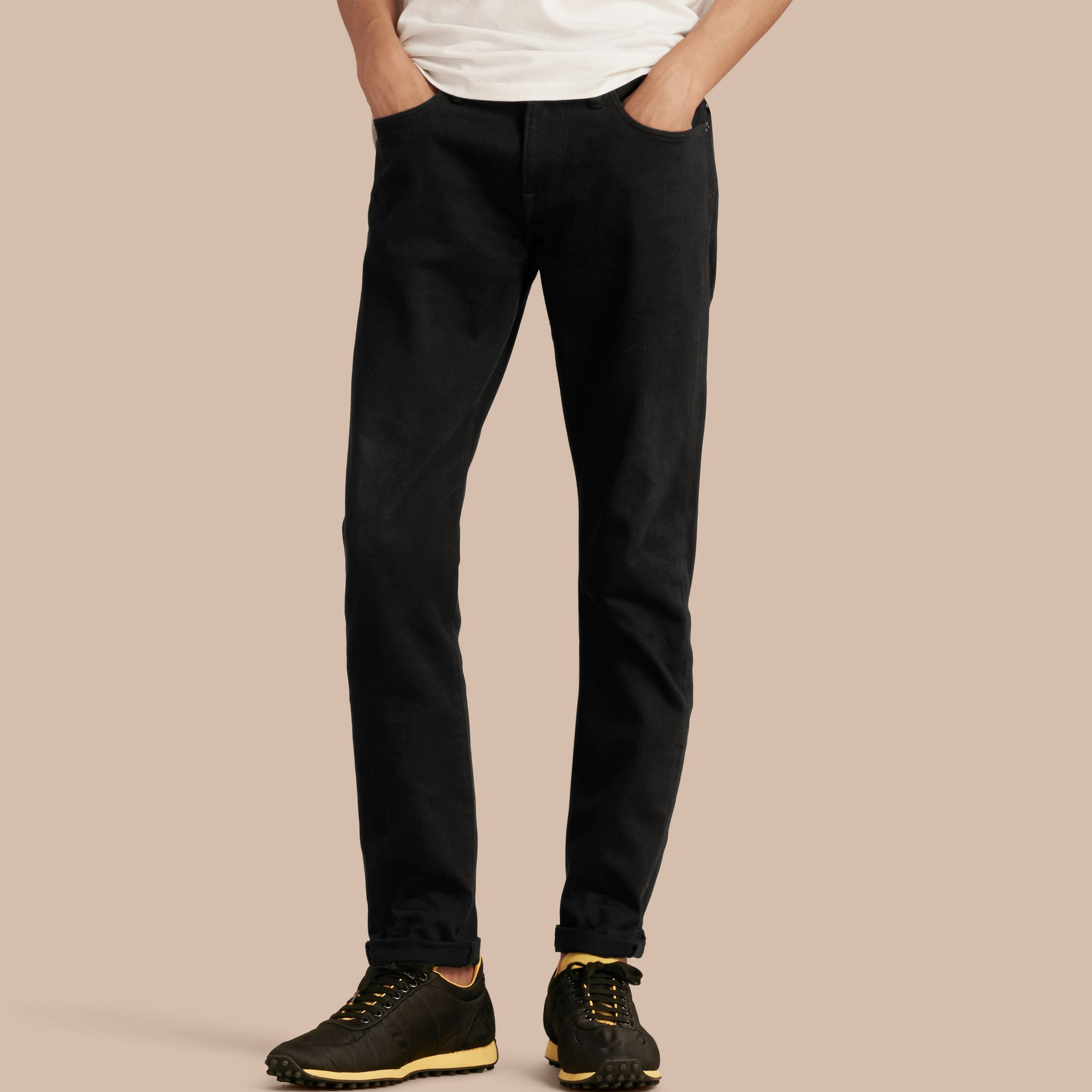 Black Slim Fit Stretch-denim Jeans - gallery image 1