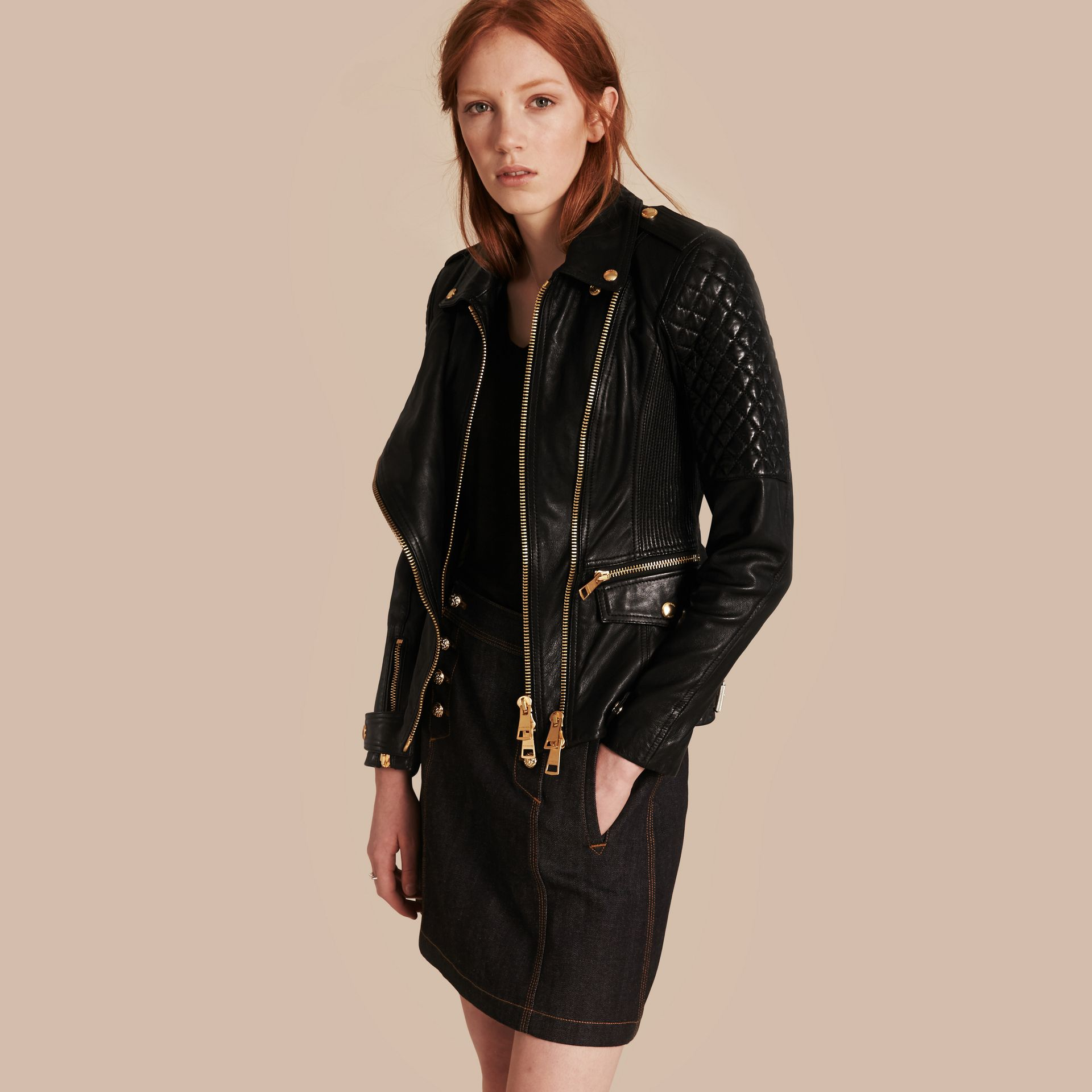 Black Diamond Quilted Detail Lambskin Biker Jacket - gallery image 1